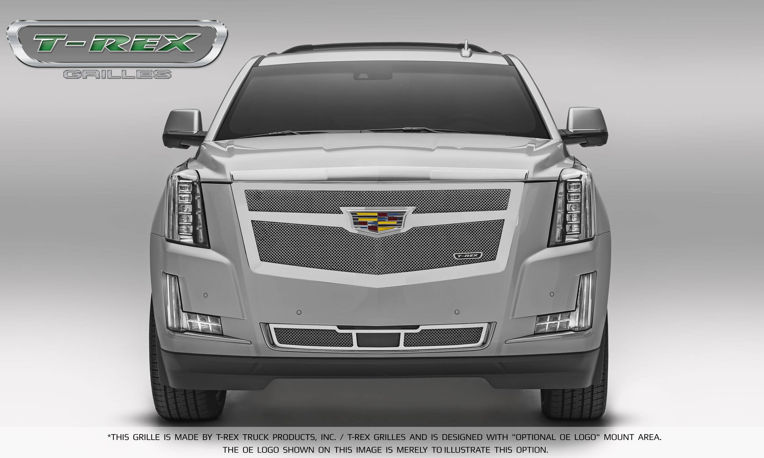 T-REX Grilles - 2015 Escalade Upper Class Grille, Chrome with Chrome Center Trim Piece, 1 Pc, Replacement - PN #56185
