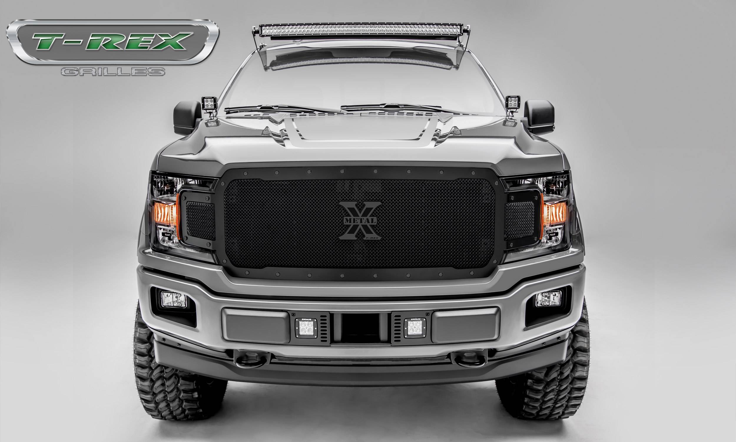T-REX Grilles - 2018-2019 F-150 Stealth X-Metal Grille, Black, 1 Pc, Replacement, Black Studs - PN #6715711-BR
