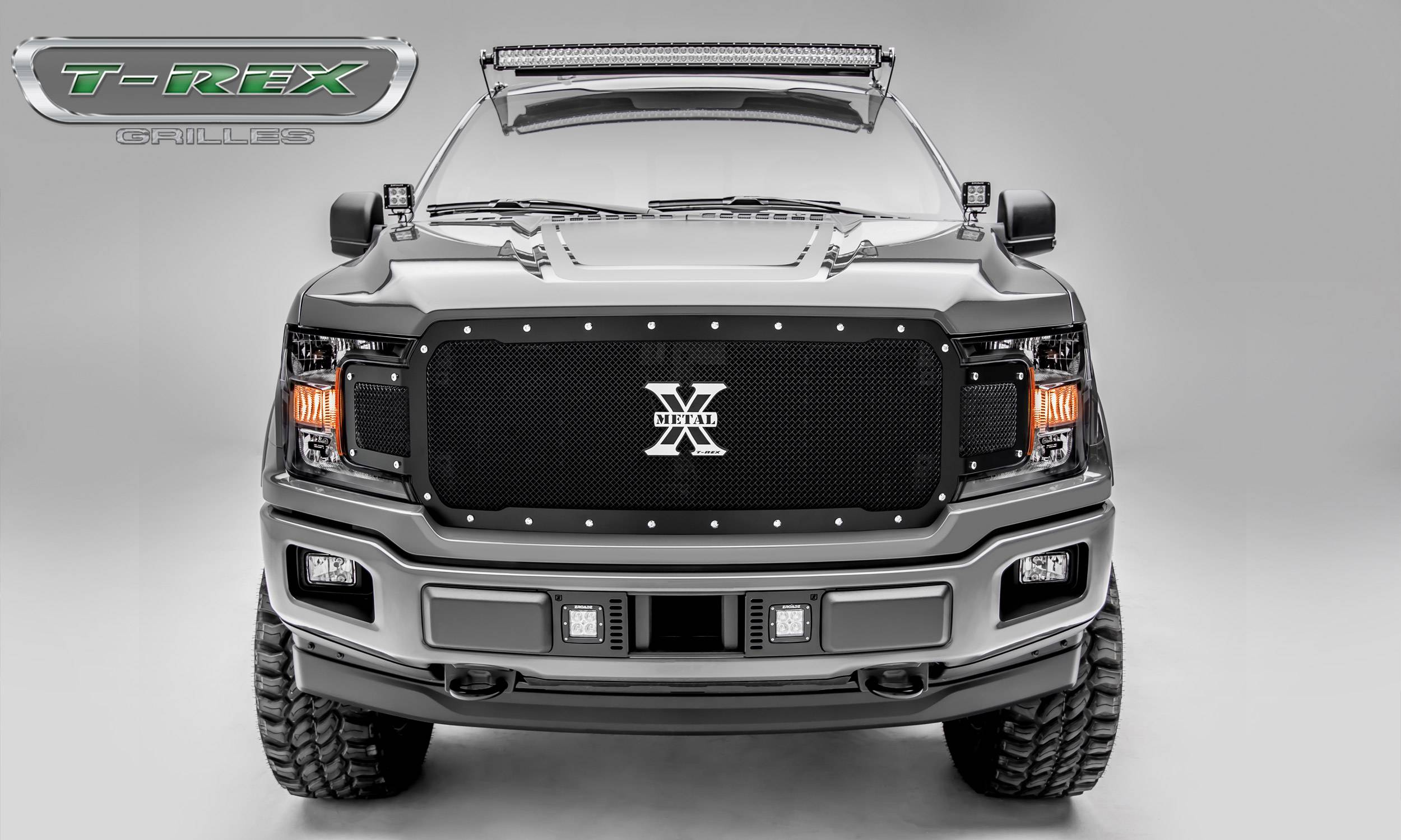 T-REX Ford F-150 - X-Metal Series - Main Grille Replacement - Chrome Studs with Black Powdercoat Finish - Pt # 6715711