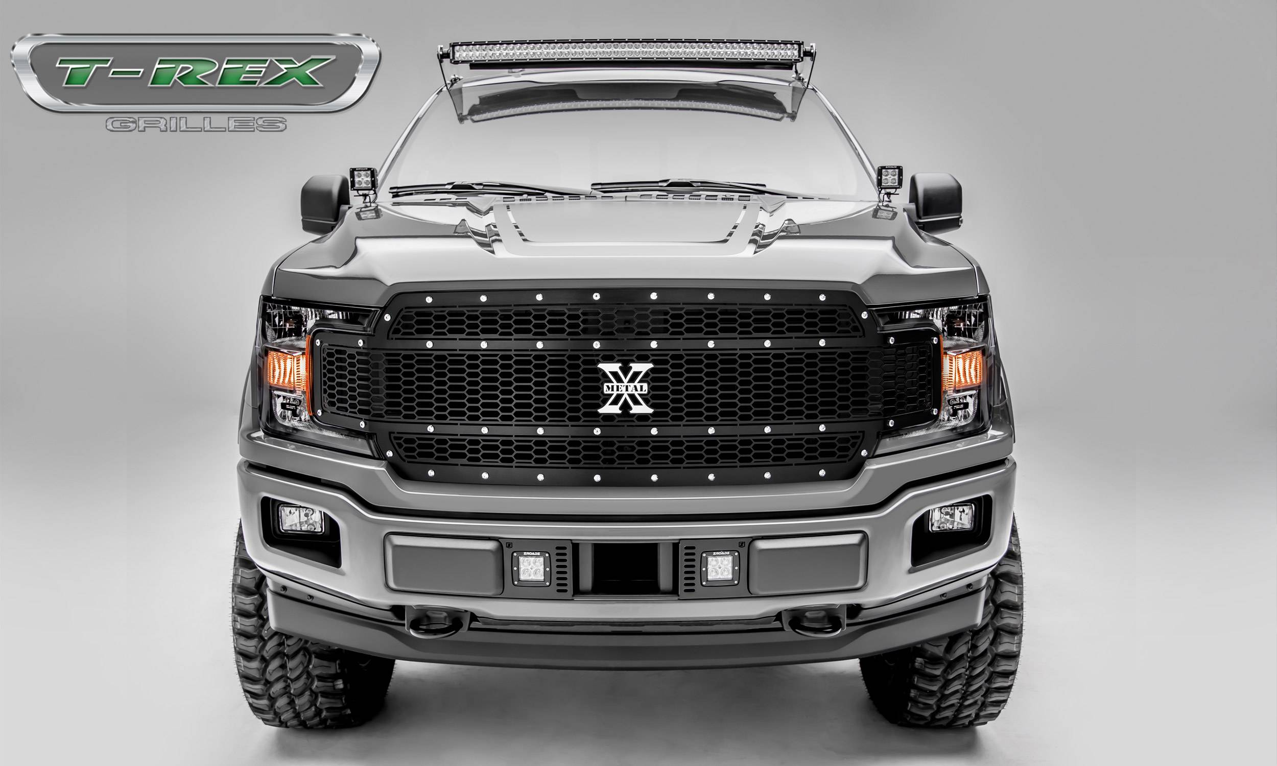T-REX Grilles - Ford F-150 - Laser X-Metal Series - Main Grille Replacement - Laser Cut Steel Pattern - Chrome Studs with Black Powdercoat Finish - Pt # 7715841