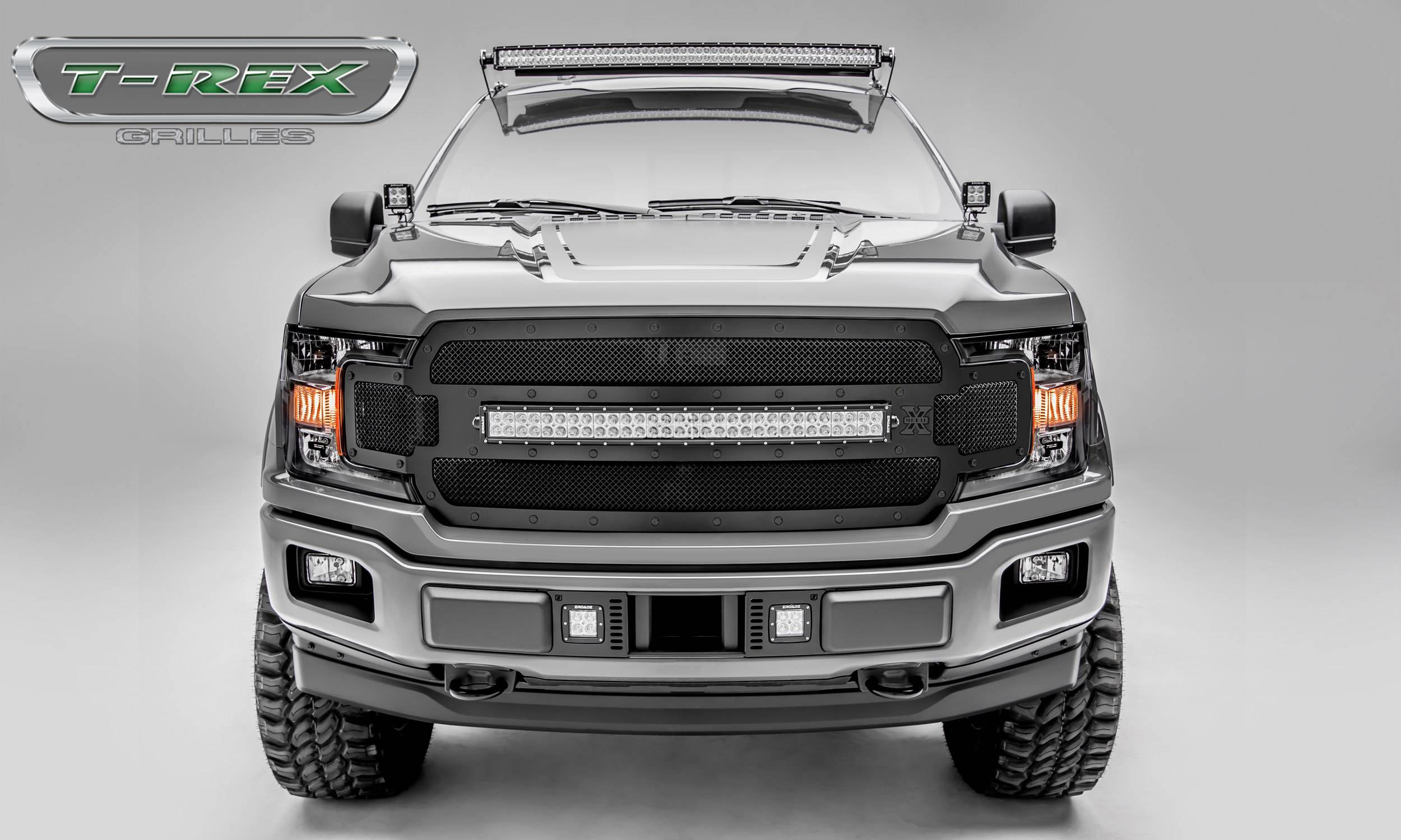 "T-REX Ford F-150 - Torch STEALTH Series - Main Grille Replacement w/ (1) 30"" LED Light Bar - Black Studs with Black Powdercoat Finish - Pt # 6315711-BR"