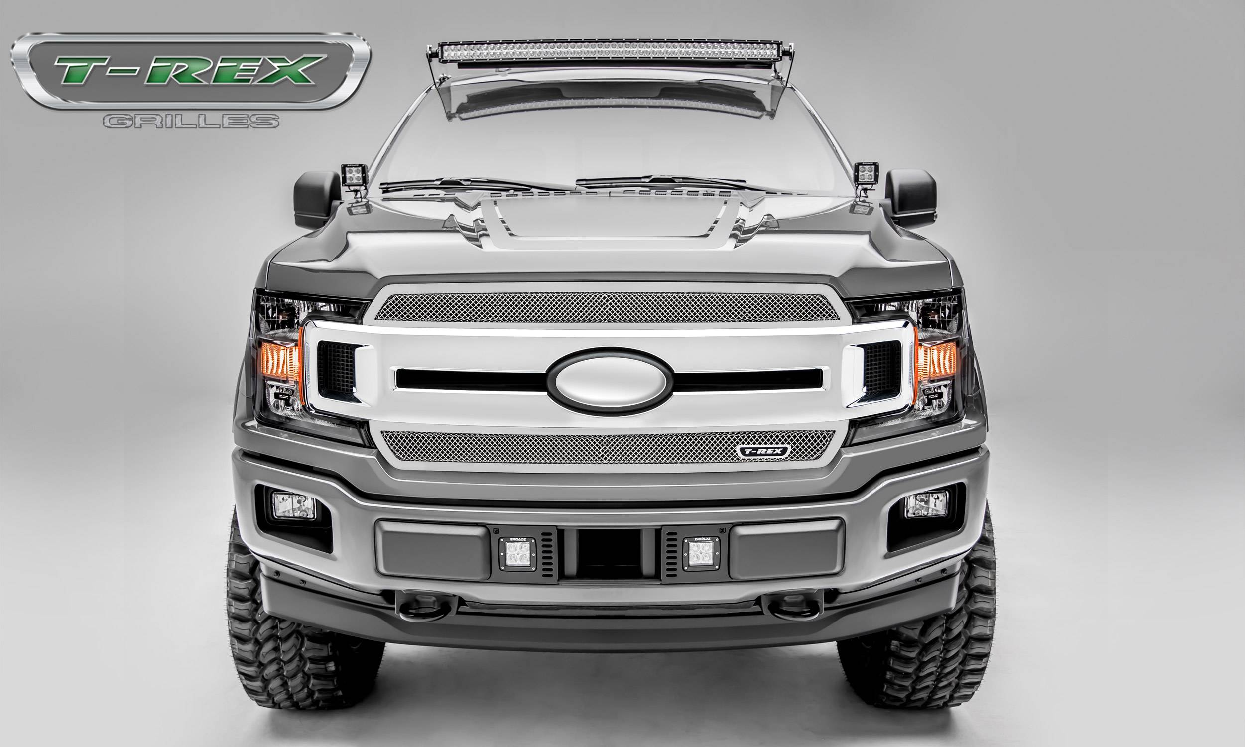T-REX Grilles - T-REX Ford F-150 - Upper Class Series - 2 PC Main Grille Overlay / Insert with Polished Stainless Steel Finish - Pt # 54710