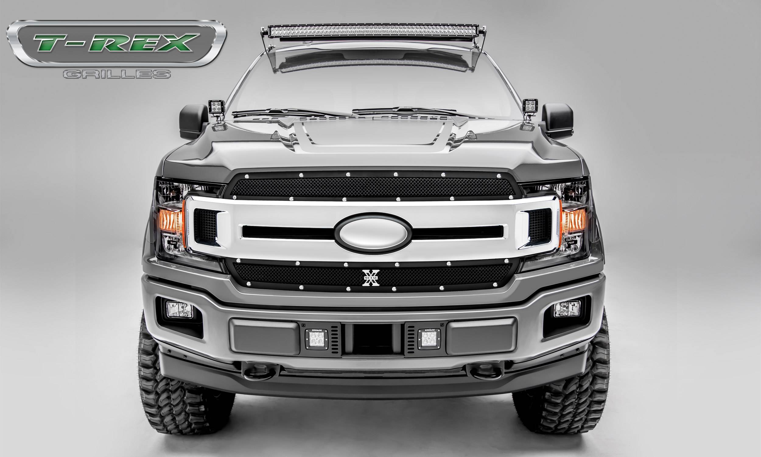 T-REX Grilles - T-REX Ford F-150 - X-Metal Series - 2 PC Main Grille Overlay / Insert with Chrome Studs and Black Powdercoat Finish - Pt # 6715691