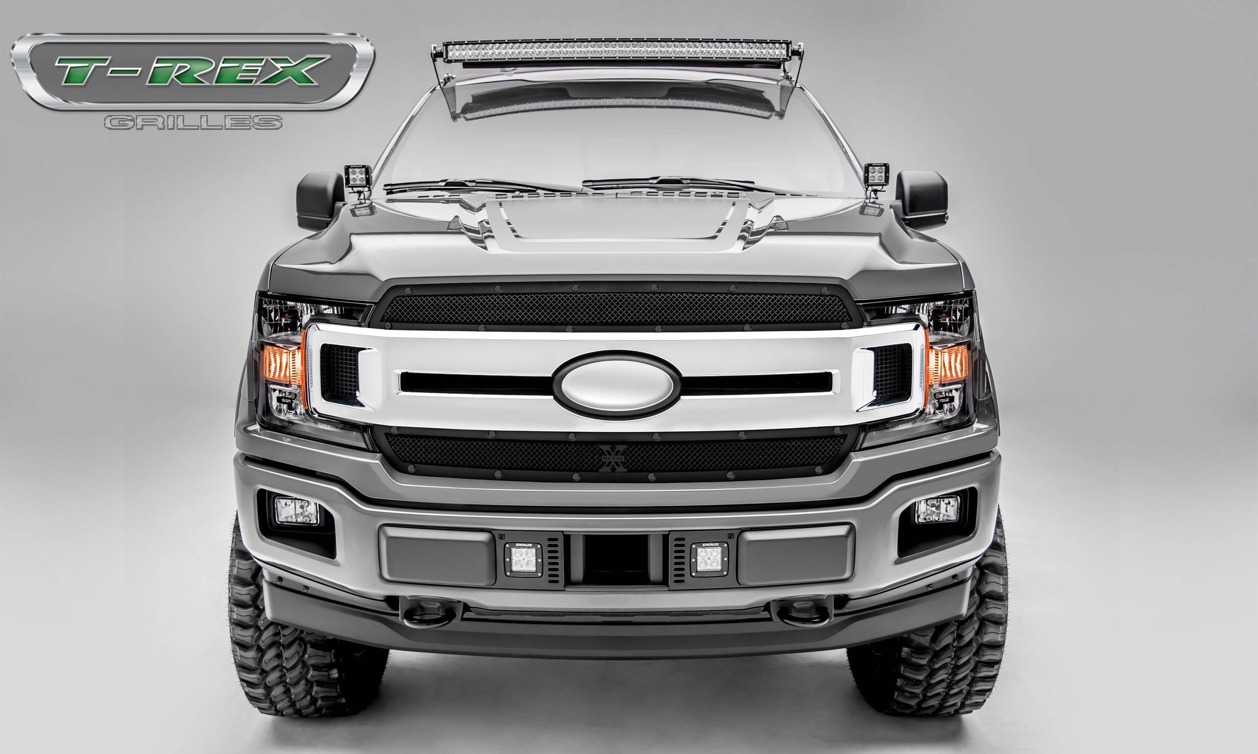T-REX Grilles - T-REX Ford F-150 - X-Metal STEALTH Series - 2 PC Main Grille Overlay / Insert - Black Studs with Black Powdercoat Finish - Pt # 6715691-BR