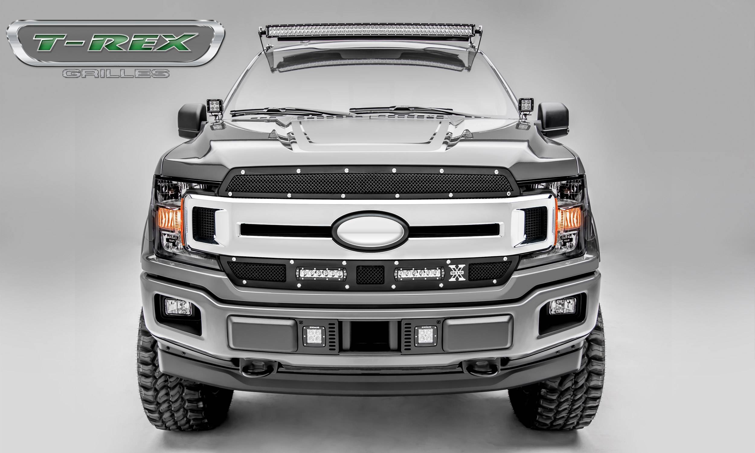 "T-REX Grilles - Ford F-150 - Torch Series - 2 PC Main Grille Overlay / Insert w/ (2) 6"" LED Light Bars - Chrome Studs and Black Powdercoat Finish - Pt # 6315691"