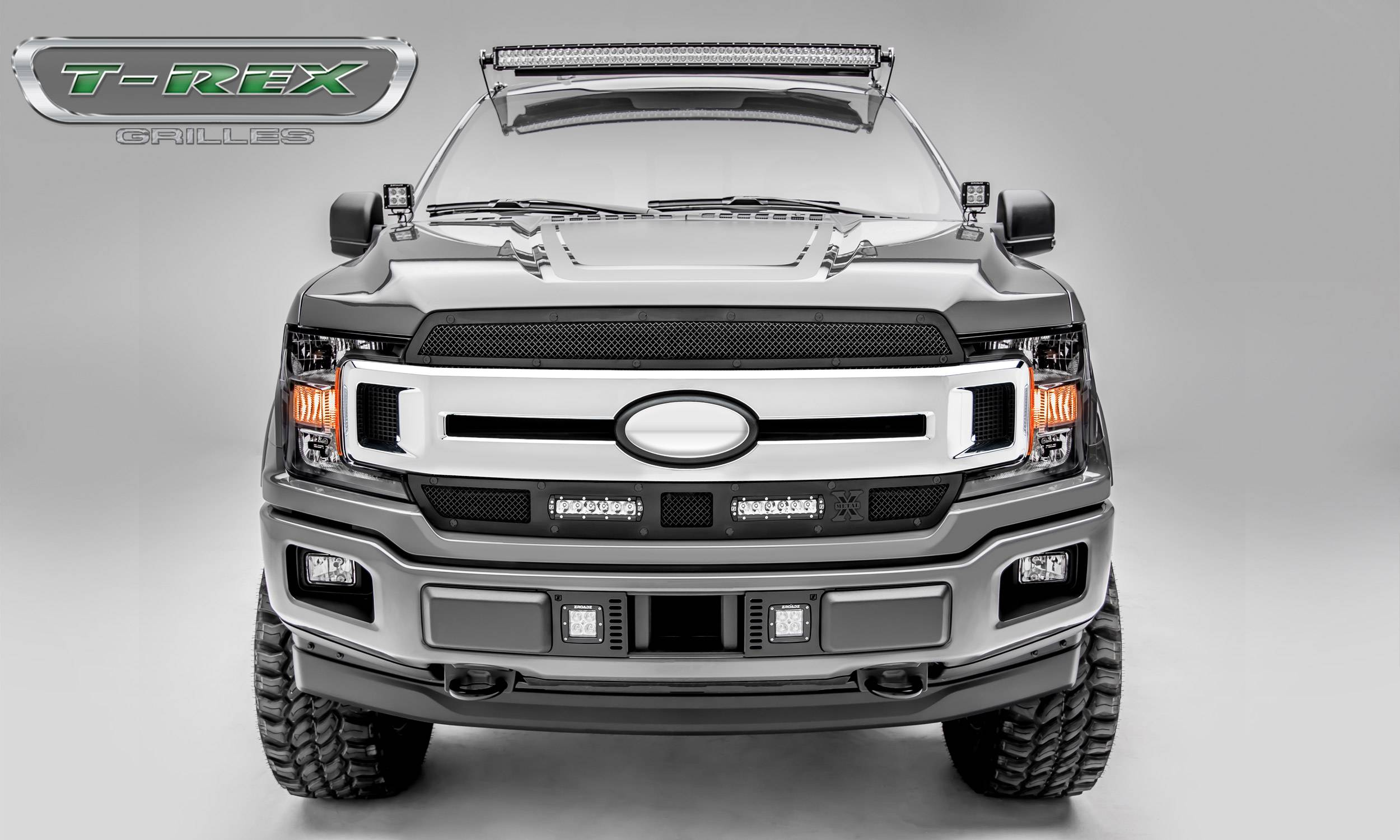 "T-REX Ford F-150 - Torch STEALTH Series - 2 PC Main Grille Overlay / Insert w/ (2) 6"" LED Light Bars - Black Studs and Black Powdercoat Finish - Pt # 6315691-BR"