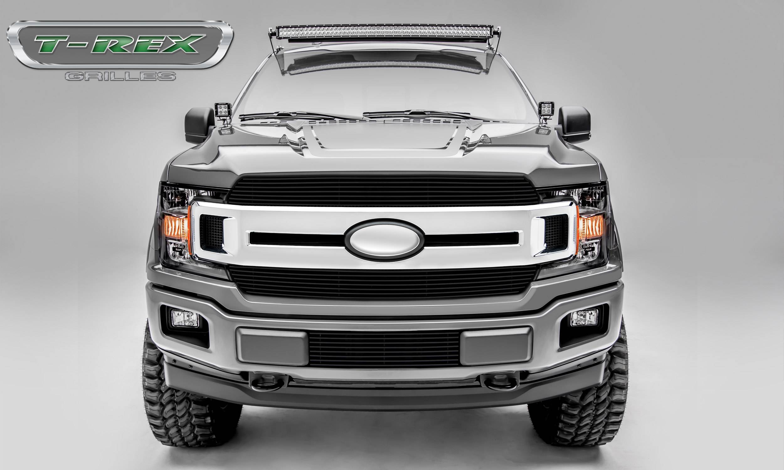 T-REX Grilles - T-REX Ford F-150 - Billet Series - 2 PC Main Grille Overlay / Insert with Black Powdercoat Aluminum Finish - Pt # 20571B