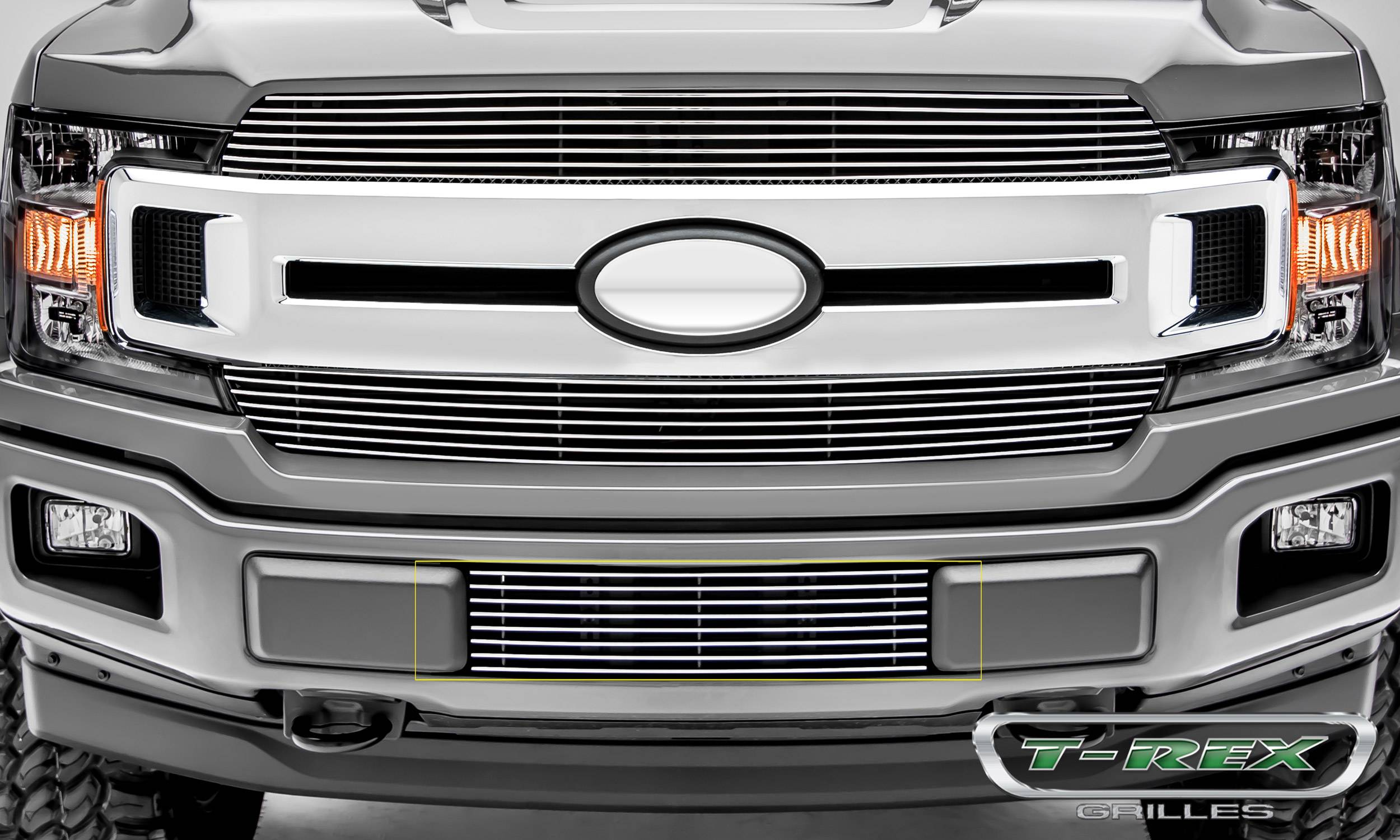 T-REX Grilles - T-REX Ford F-150 - Billet Series - Bumper Grille Overlay with Polished Aluminum Finish - Pt # 25571