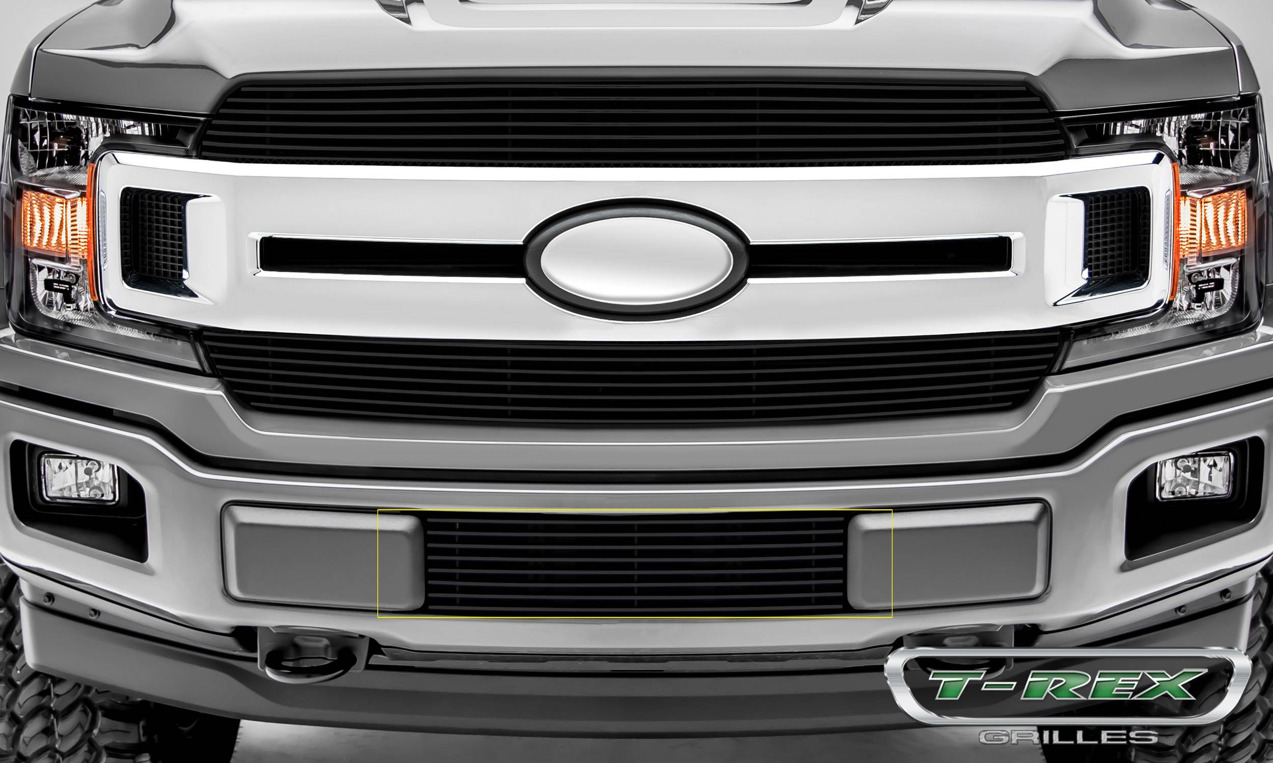 T-REX Grilles - T-REX Ford F-150 - Billet Series - Bumper Grille Overlay with Black Powdercoat Aluminum Finish - Pt # 25571B