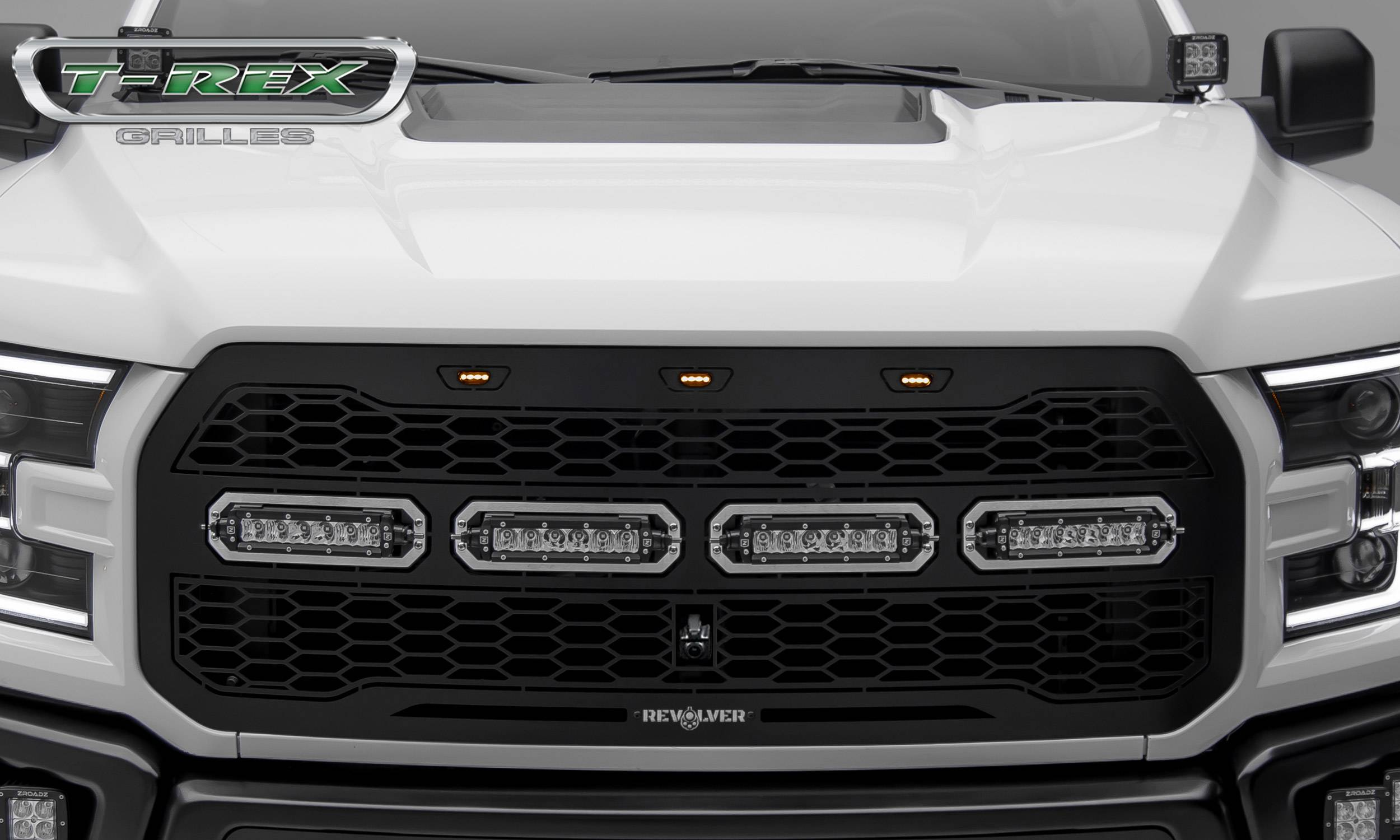 2017-2019 F-150 Raptor SVT Revolver Grille, Black, 1 Pc, Replacement,  Chrome Studs, Incl  (4) 6