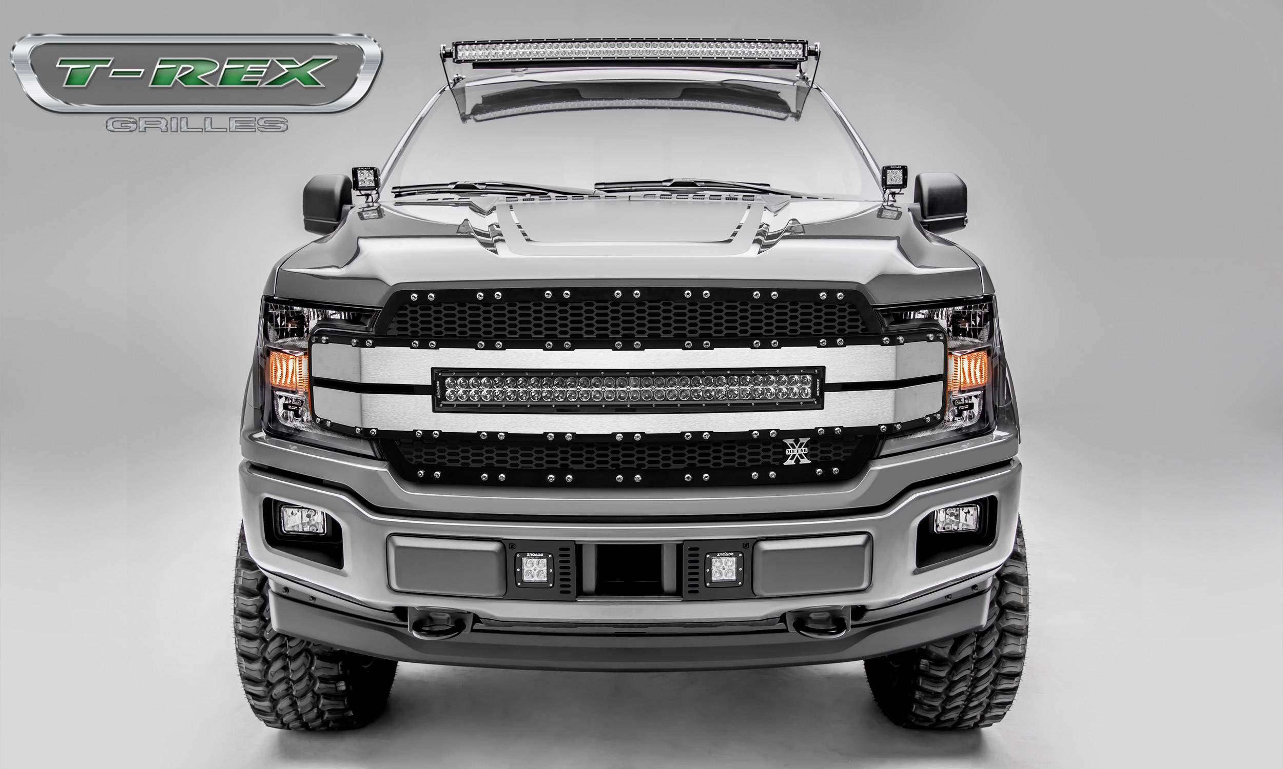"T-REX Grilles - 2018-2019 F-150 Torch AL Grille, Black Mesh, Brushed trim, 1 Pc, Replacement, Chrome Studs, Incl. (1) 30"" LED - PN #6315783"