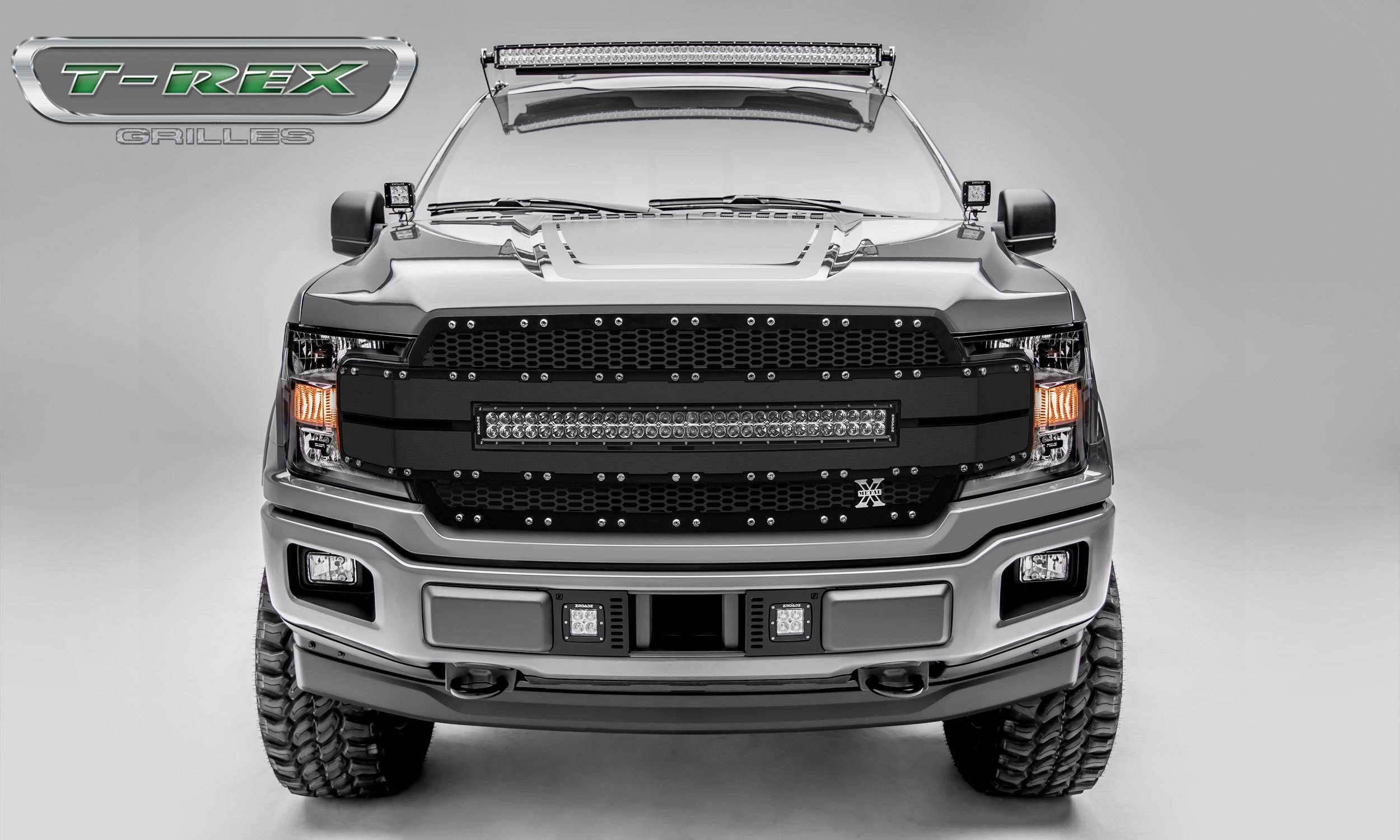 "T-REX Grilles - 2018-2019 F-150 Torch AL Grille, Black Mesh and Trim, 1 Pc, Replacement, Chrome Studs, Incl. (1) 30"" LED - PN #6315781"