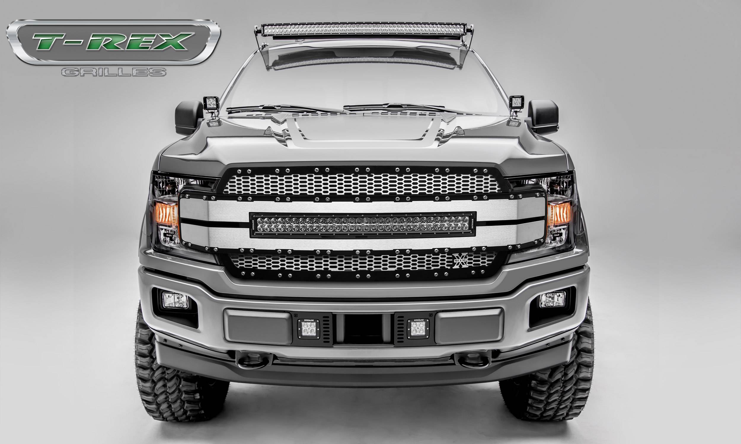 """Ford F-150 Torch-AL Series, Replacement Grille, Includes  (1) 30"""" LED Light Bar, Universal Wire Harness, Aluminum Frame, Laser Cut Web Pattern, Chrome Studs, Black w/ Brushed Mesh and Brushed Trim Pt # 6315785"""