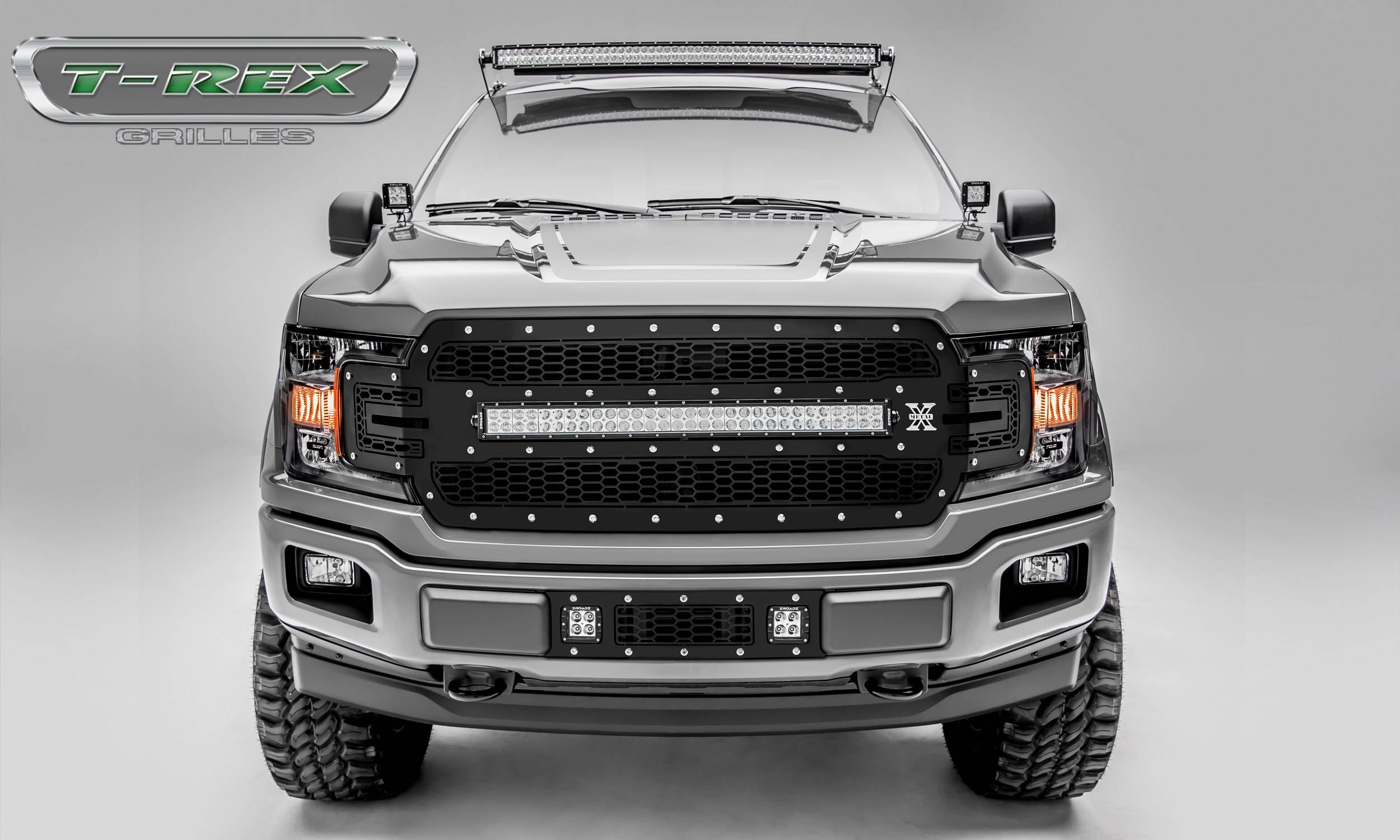 "T-REX Ford F-150 - Laser Torch Series - Main Grille Replacement w/ (1) 30"" LED Light Bar - Laser Cut Steel Pattern - Chrome Studs with Black Powdercoat Finish - Pt # 7315711"