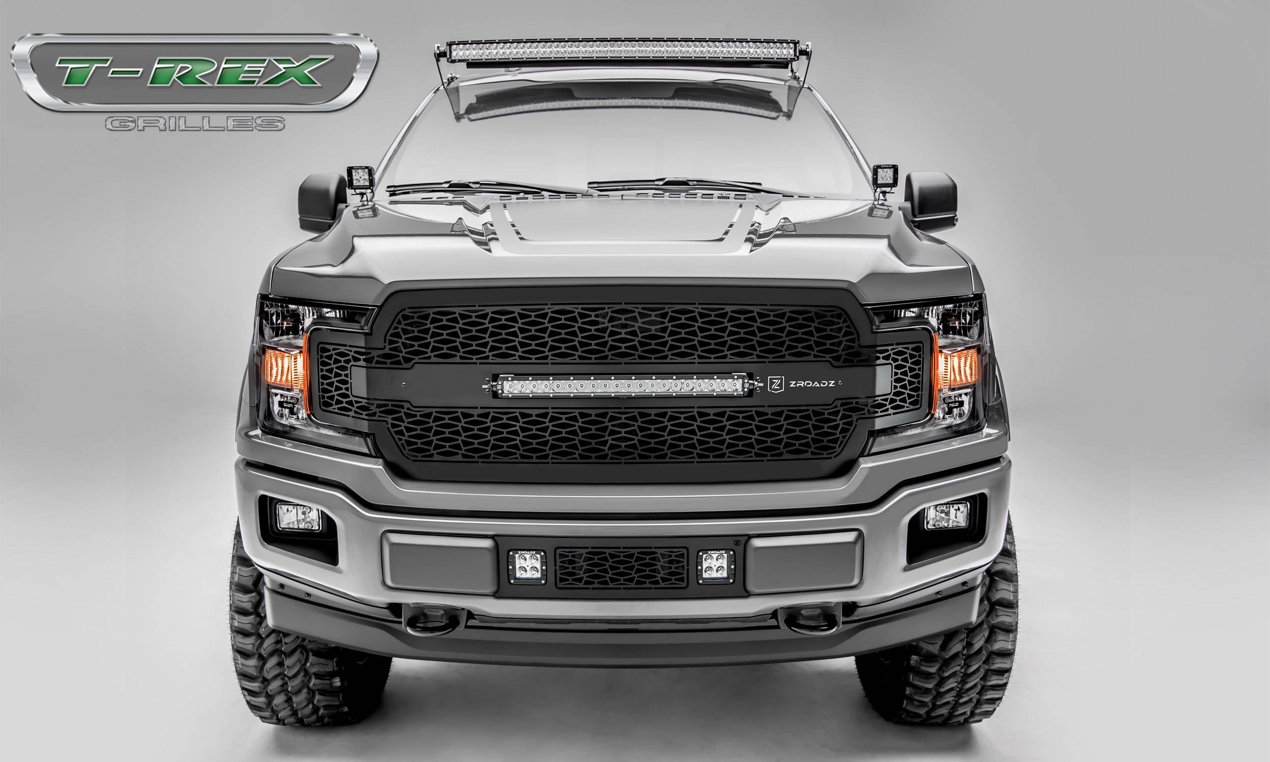 "T-REX Grilles - T-REX Ford F-150 - ZROADZ Series - Main Grille Replacement w/ (1) 20"" LED Light Bars - Laser Cut Steel Pattern - Pt # Z315711"