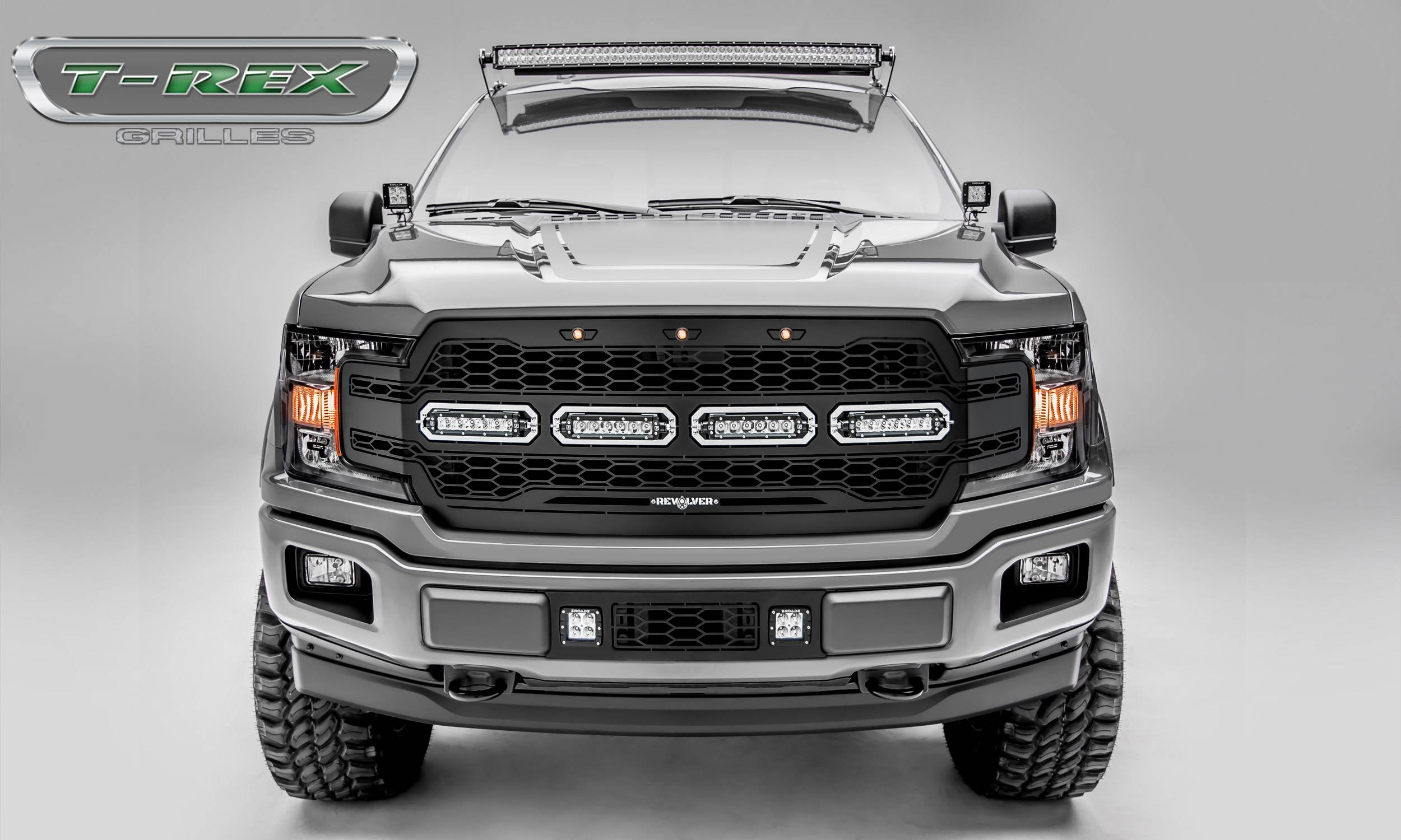 "T-REX Ford F-150 - Revolver Series - Main Grille Replacement w/ (4) 6"" LED Light Bars - Laser Cut Steel Pattern - Black Powdercoat Finish - Pt # 6515841"