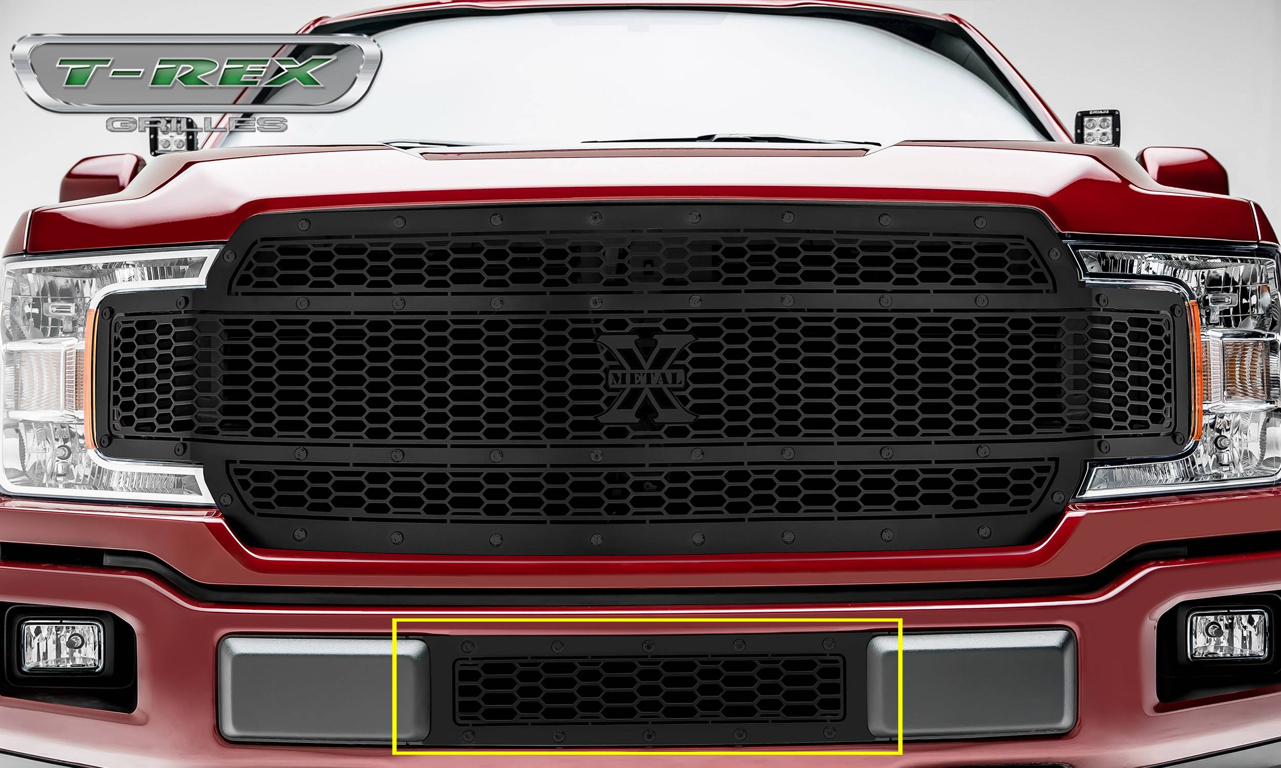 T-REX Ford F-150 - LASER X-METAL STEALTH Bumper Grille Overlay with Black Studs and Black Powdercoat Finish - Pt # 7725891-BR
