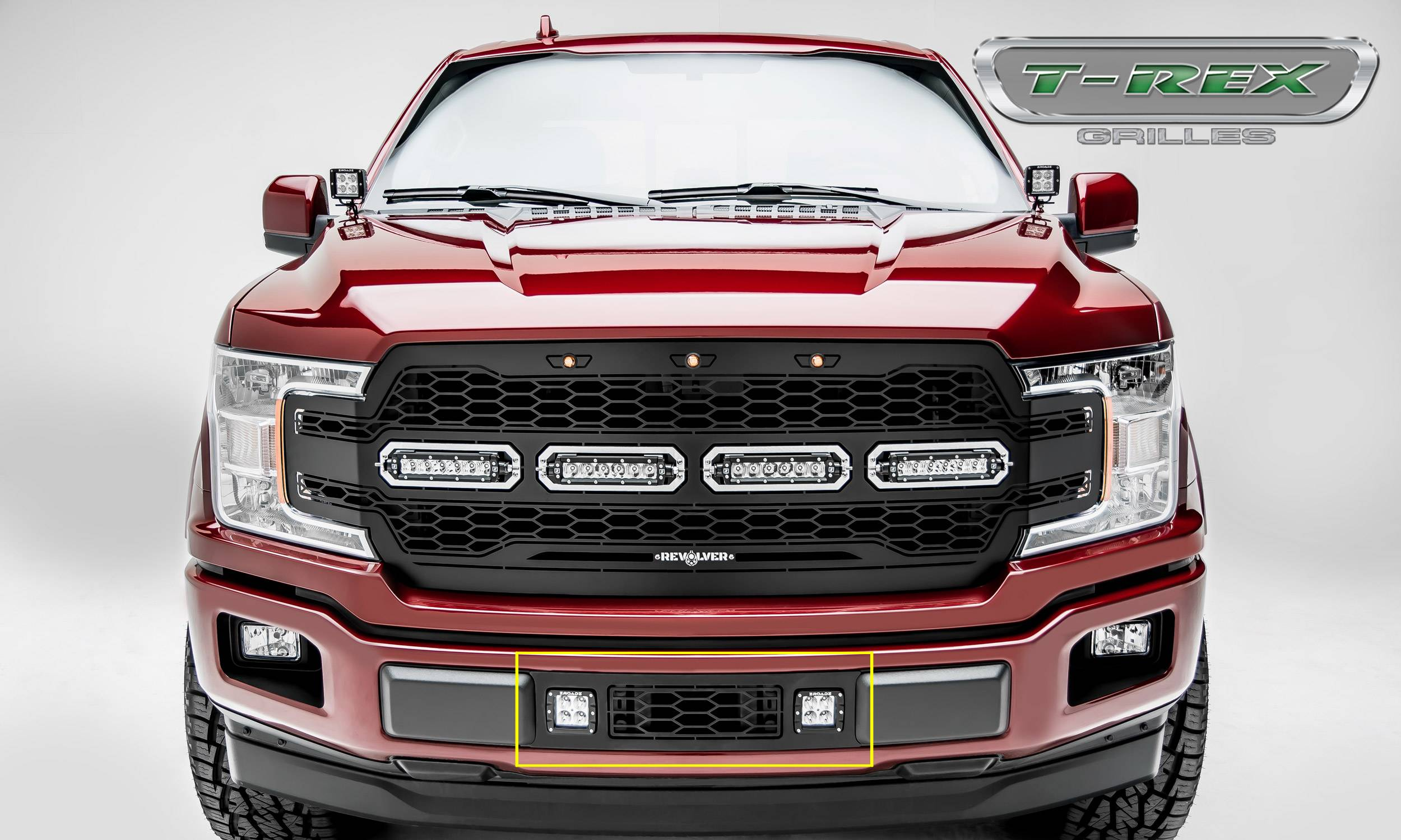 "T-REX Grilles - T-REX Ford F-150 - REVOLVER Series Bumper Grille Overlay - w/ (2) 3"" LED Light Pods and Black Powdercoat Finish - Pt # 6525751"