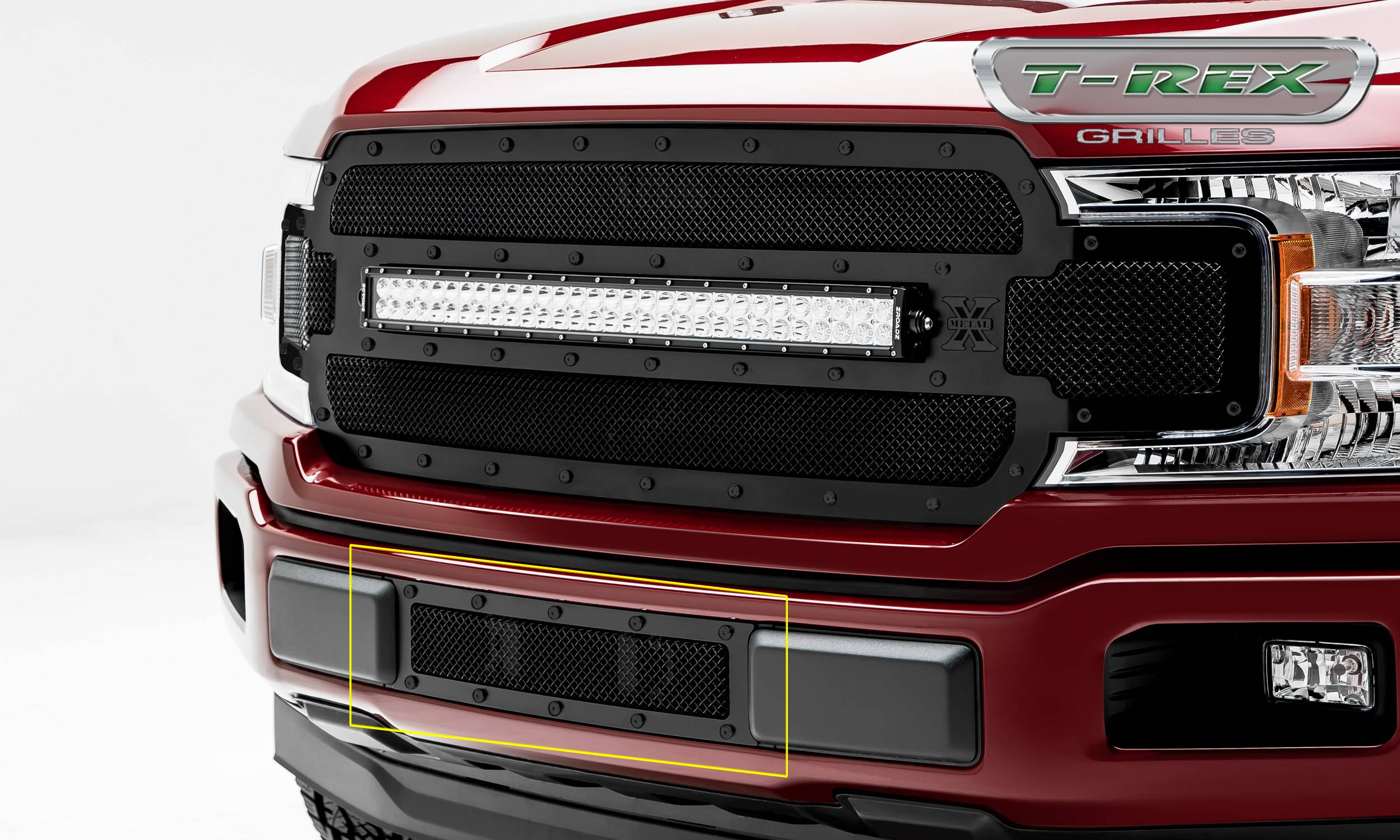 T-REX Ford F-150 - X-Metal STEALTH Series - Bumper Grille Overlay with Black Studs with Black Powdercoat Finish - Pt # 6725791-BR