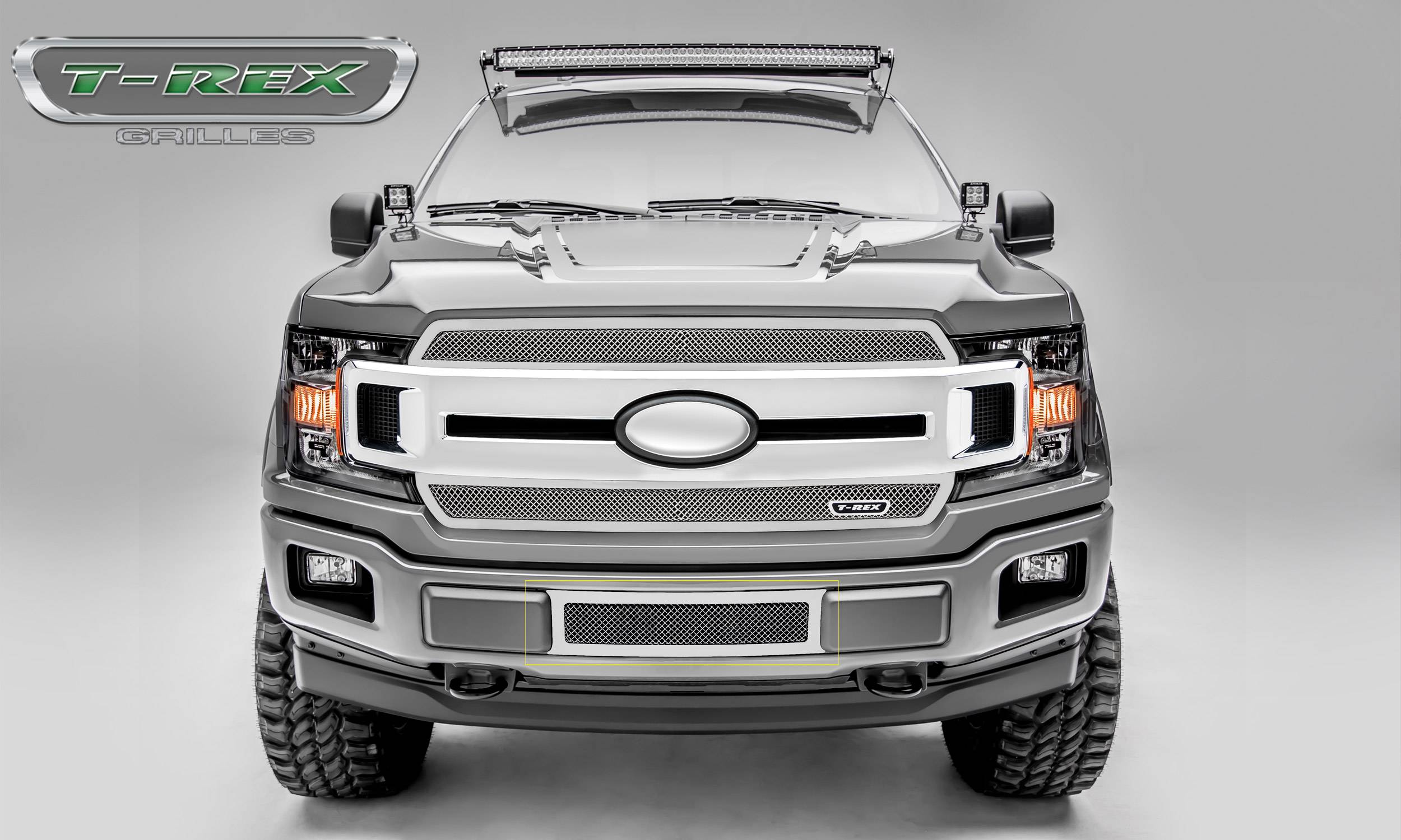 T-REX Grilles - T-REX Ford F-150 - Upper Class Series - Bumper Grille Overlay with Framed Woven Wire Mesh and Polished Stainless Steel Finish - Pt # 55710