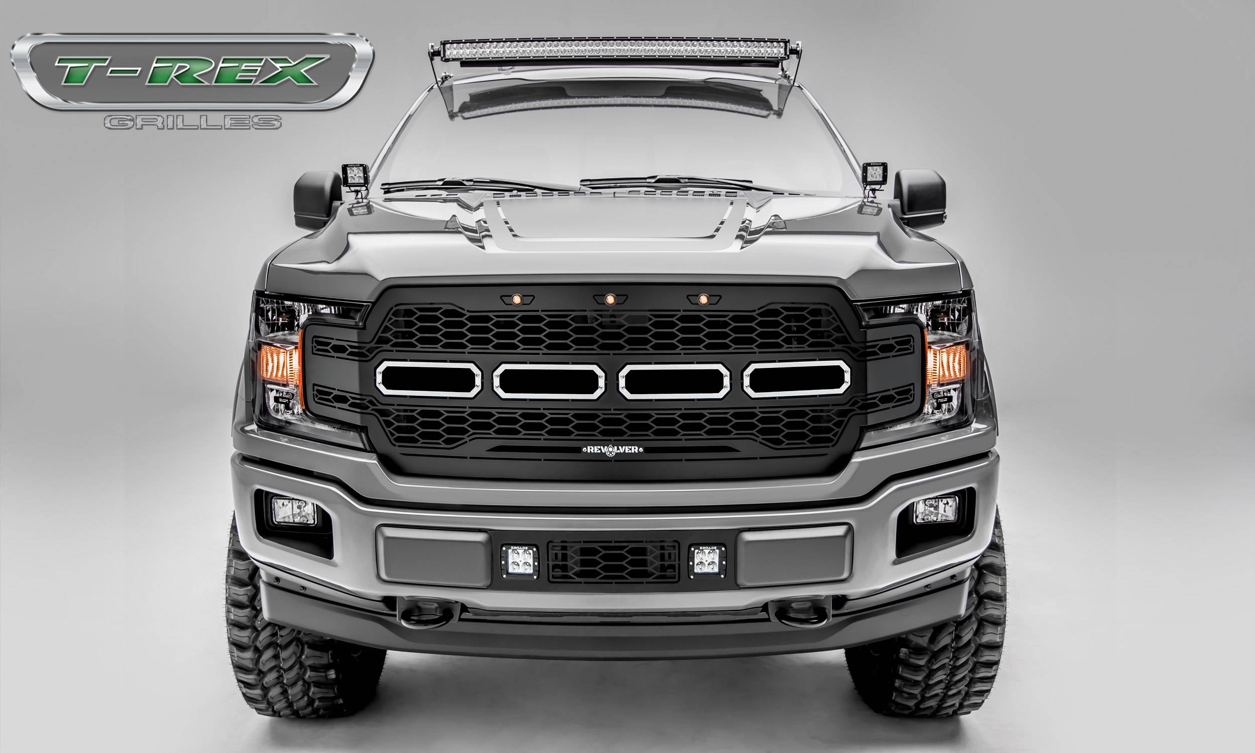 T-REX Grilles - T-REX Ford F-150 - Revolver Series - Main Grille Replacement w/ no LEDs - Laser Cut Steel Pattern - Black Powdercoat Finish - Pt # 6515851