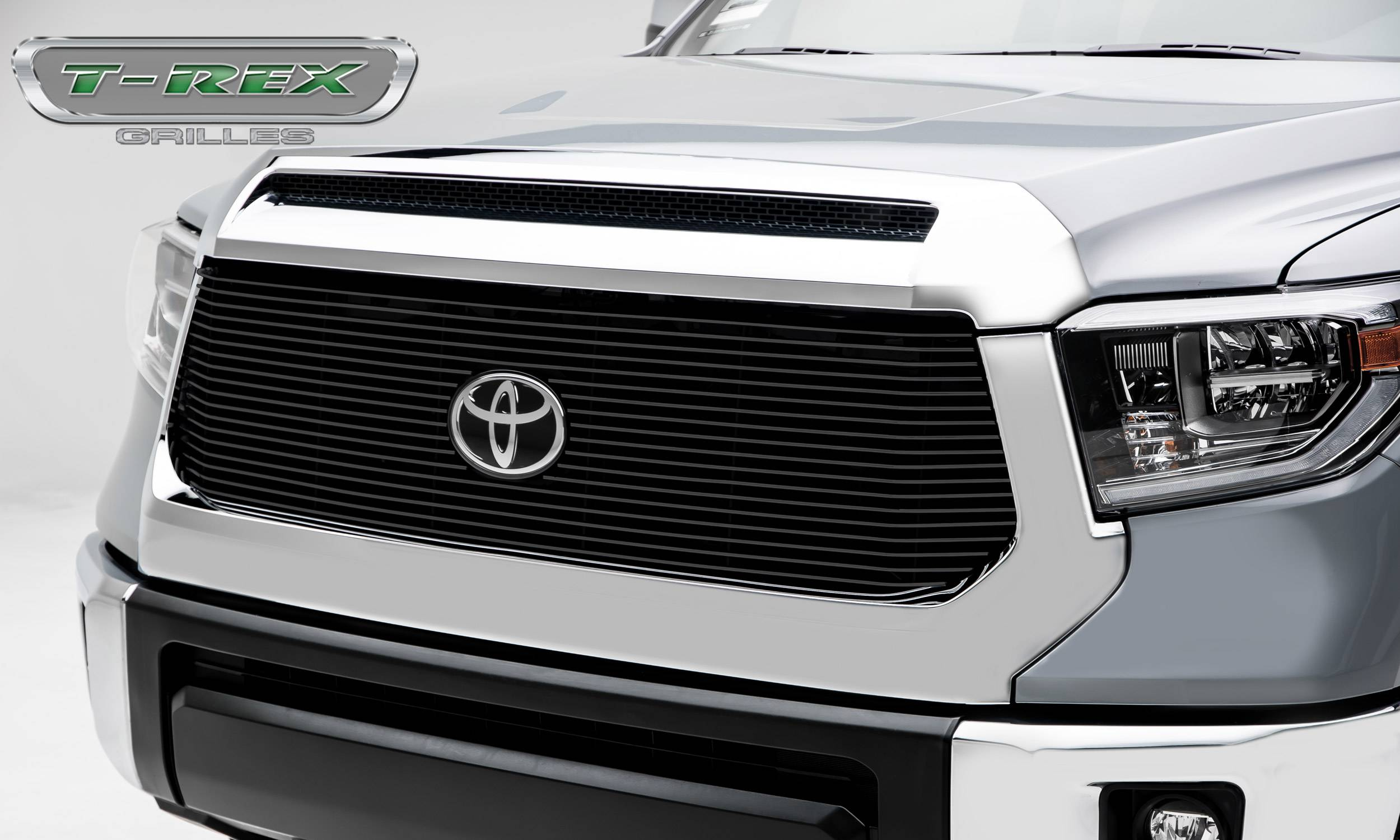 T-REX Grilles - Toyota Tundra Billet Grille - Main Replacement w/ OE Logo Provision - 1 Pc, Black Powdercoated Aluminum Bars - Pt # 20966B