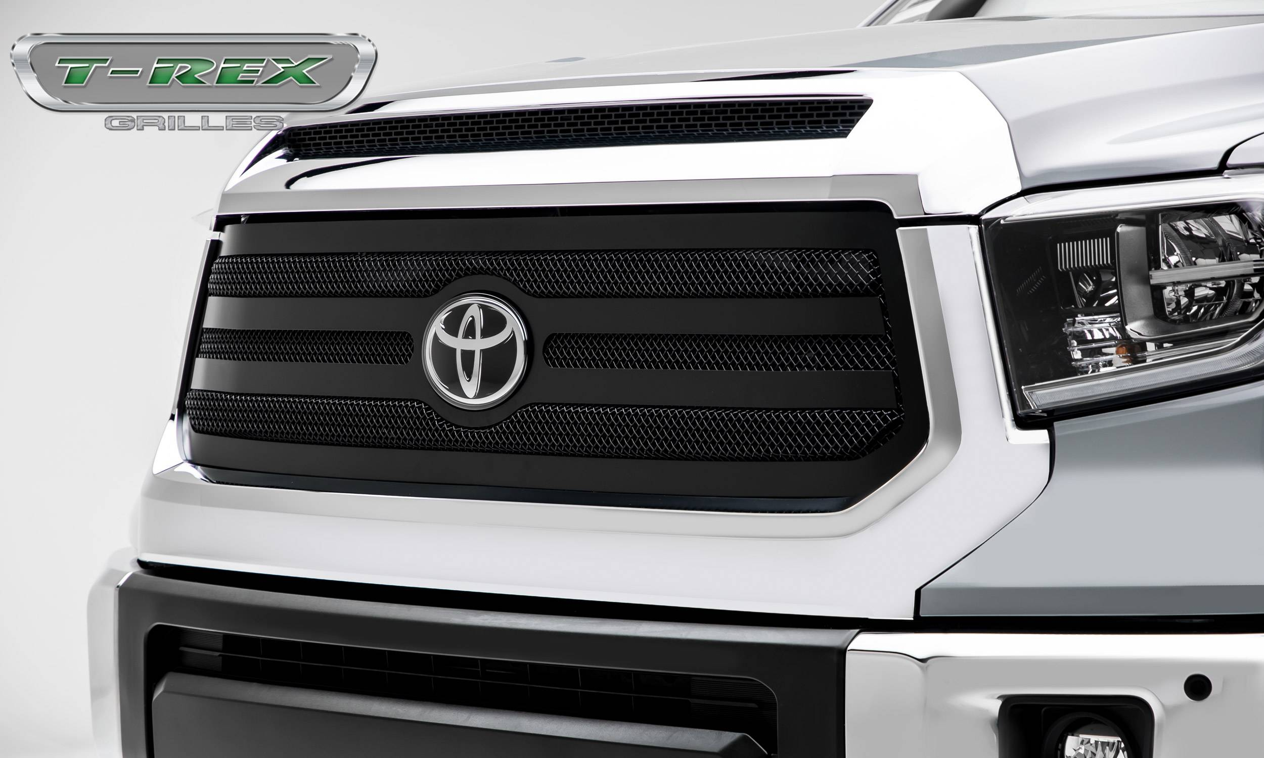 T-REX Grilles - Toyota Tundra Upper Class Grille - Main Replacement w/ OE Logo Provision - 1 Pc, Black Powdercoated Framed Wire Mesh -  Pt # 51966
