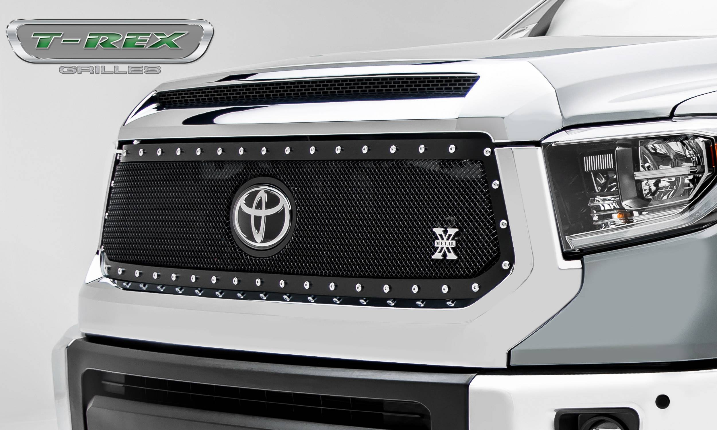 T-REX Grilles - Toyota Tundra X-Metal Grille - Main Replacement w/ OE Logo Provision - 1 Pc, Black Powdercoated w/ Chrome Studs - Pt # 6719661