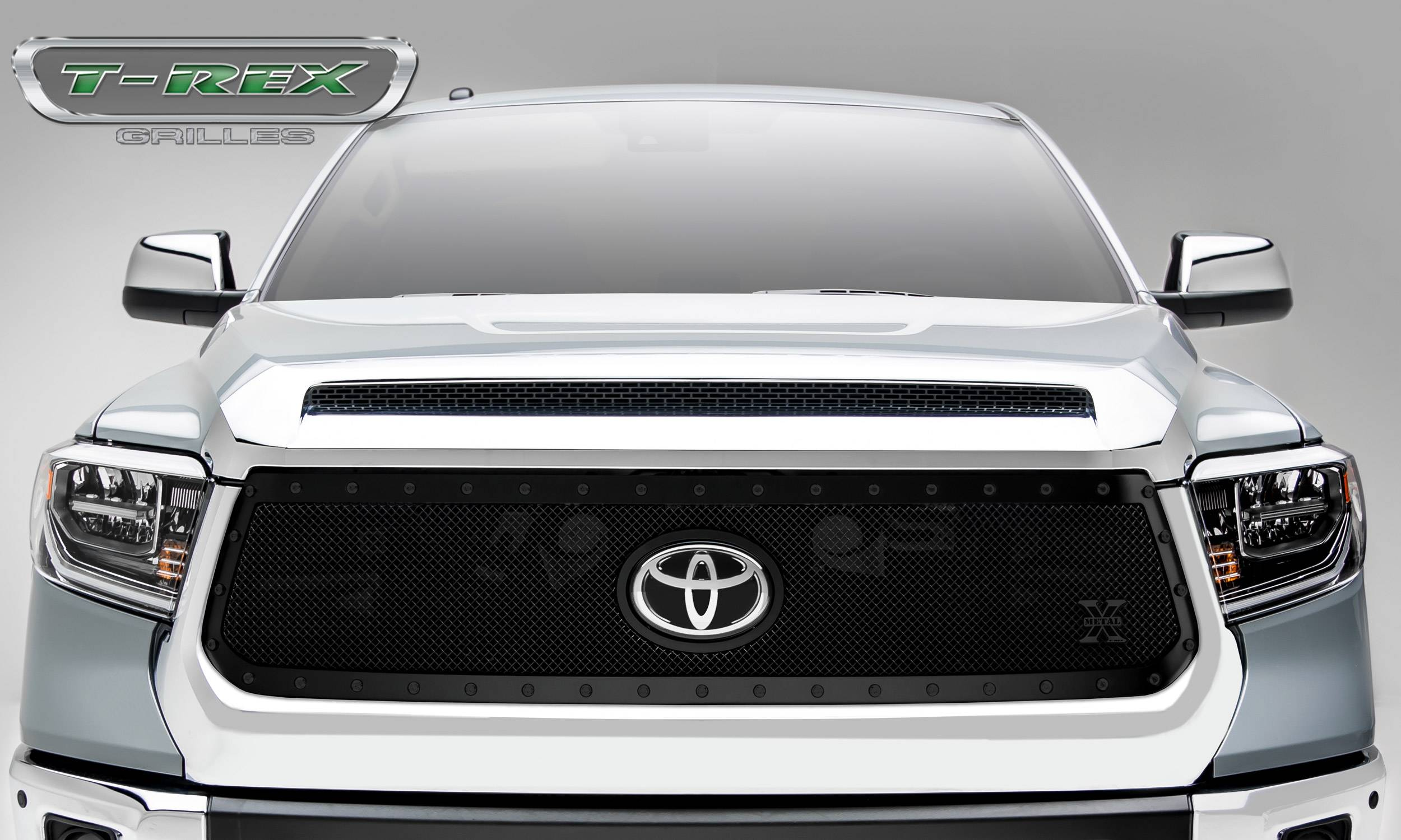 T-REX Grilles - Toyota Tundra X-Metal STEALTH Grille - Main Replacement w/ OE Logo Provision - 1 Pc, Black Powdercoated w/ Black Studs - Pt # 6719661-BR