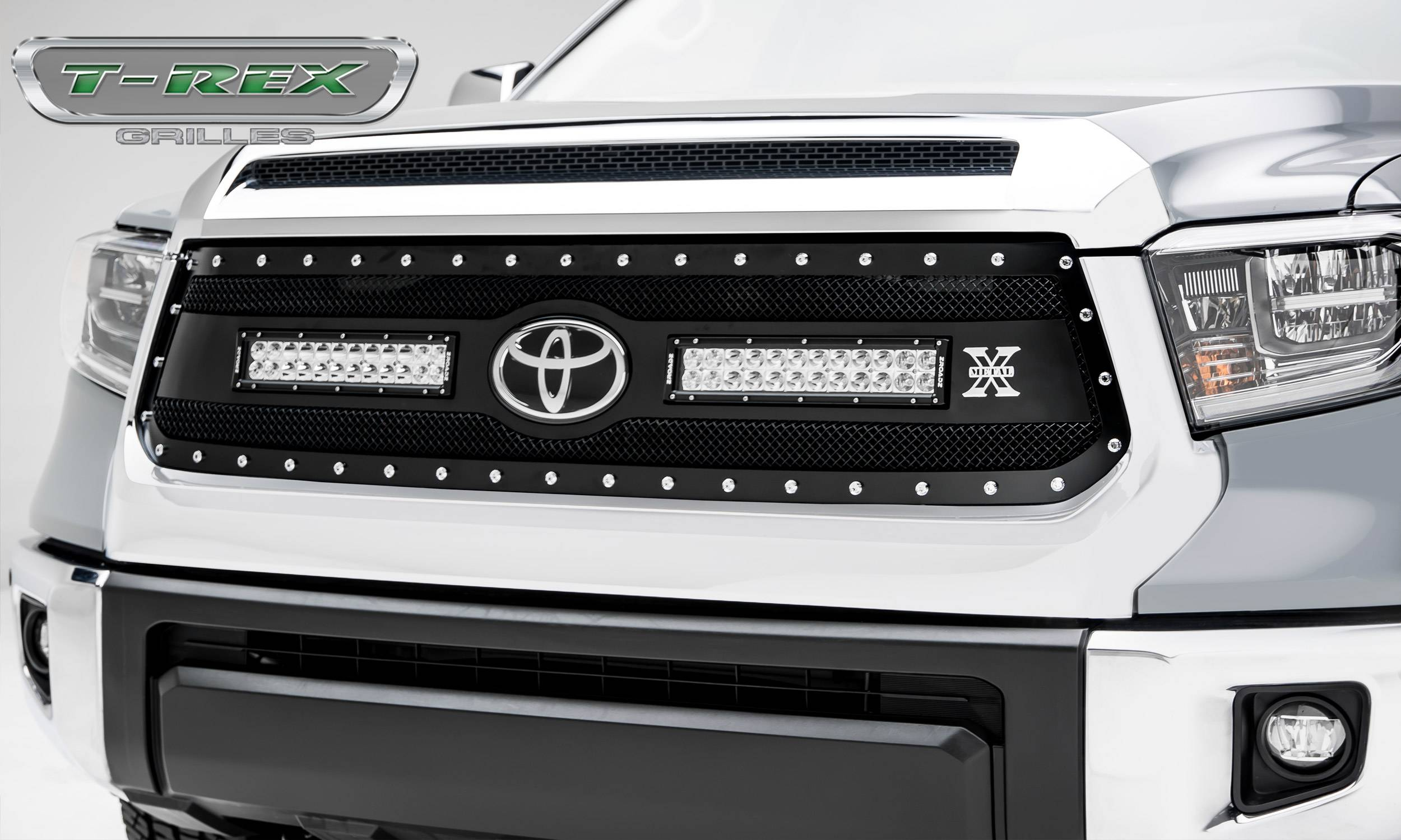 "Toyota Tundra Torch Grille - Main Replacement w/ OE Logo Provision - Black Powdercoated Woven Wire Mesh w/ (2) 12"" LED Lights & Chrome Studs - Pt # 6319661"