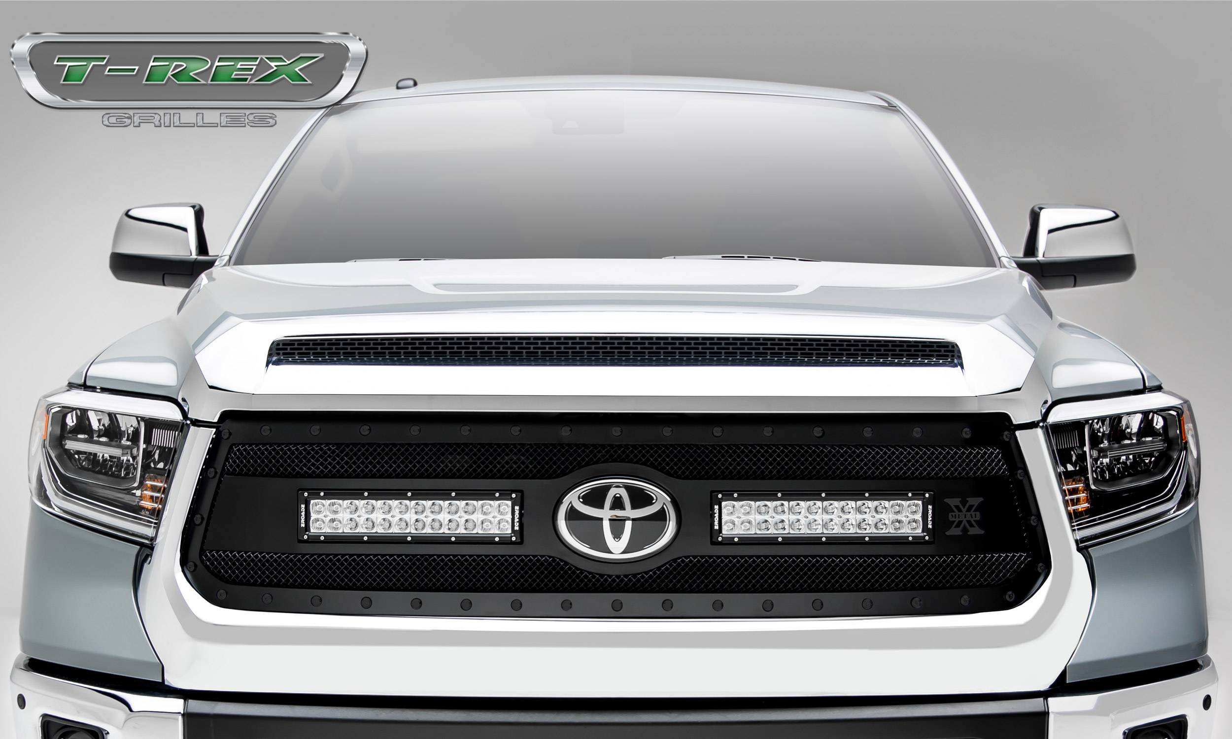 T-REX Grilles - Toyota Tundra Torch STEALTH Grille - Main Replacement w/ OE Logo Provision - Black Powdercoated Woven Wire Mesh - Pt # 6319661-BR