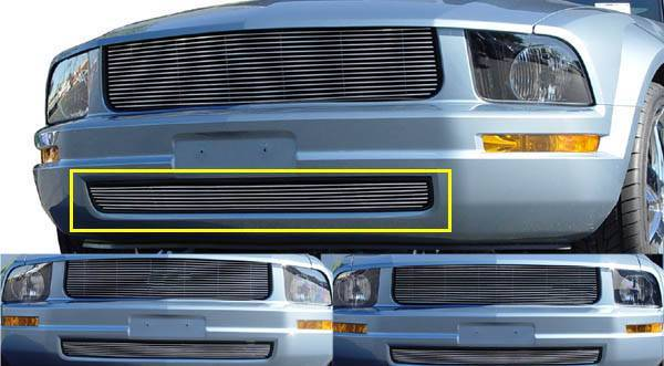 T-REX Grilles - 2005-2009 Mustang LX Billet Bumper Grille, Polished, 1 Pc, Overlay - PN #25515