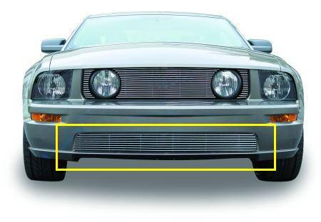 T-REX Grilles - 2005-2009 Mustang GT Billet Bumper Grille, Polished, 1 Pc, Bolt-On - PN #25516