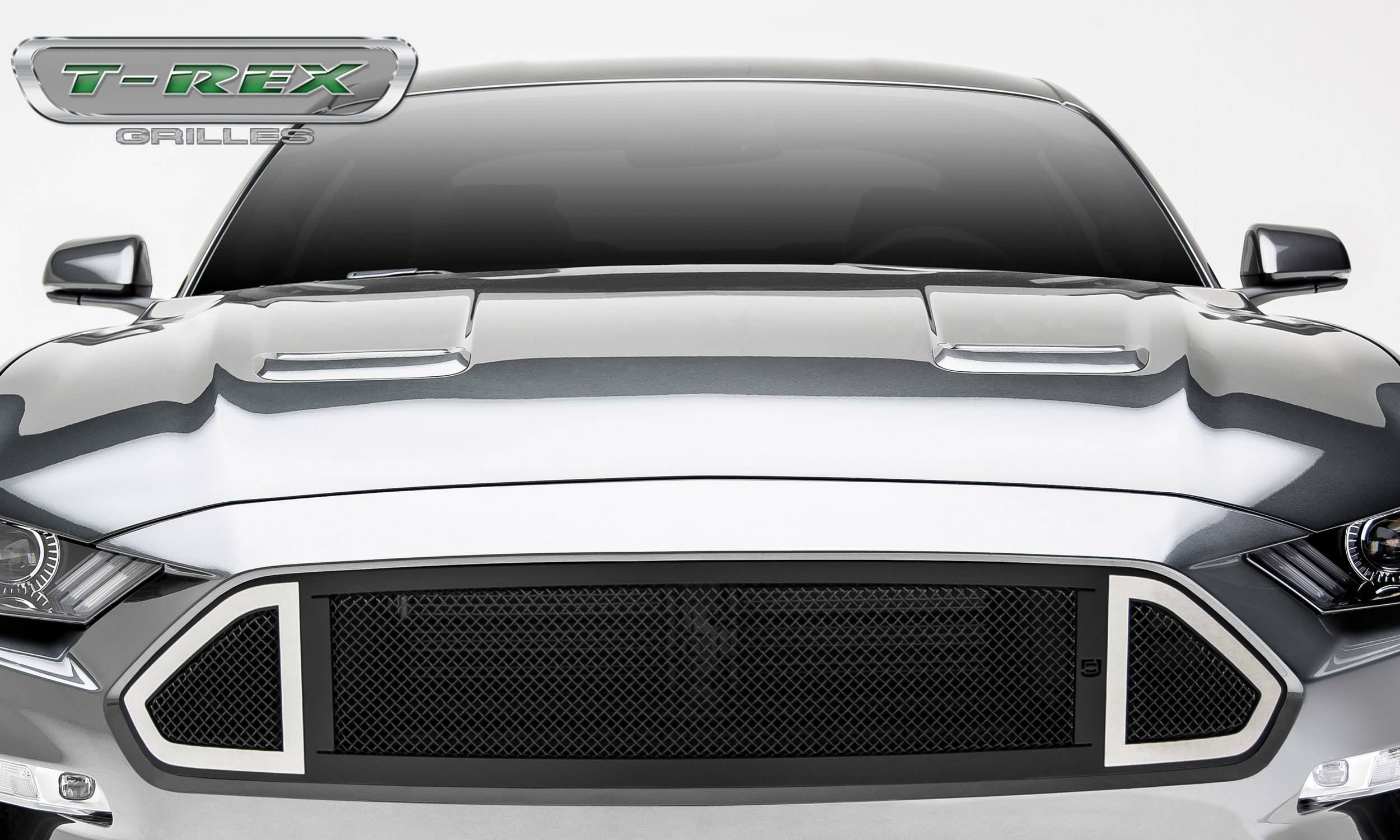 T-REX Grilles - Mustang DJ Series Main Grille insert Black with Stainless Accent Trim #DJ10550