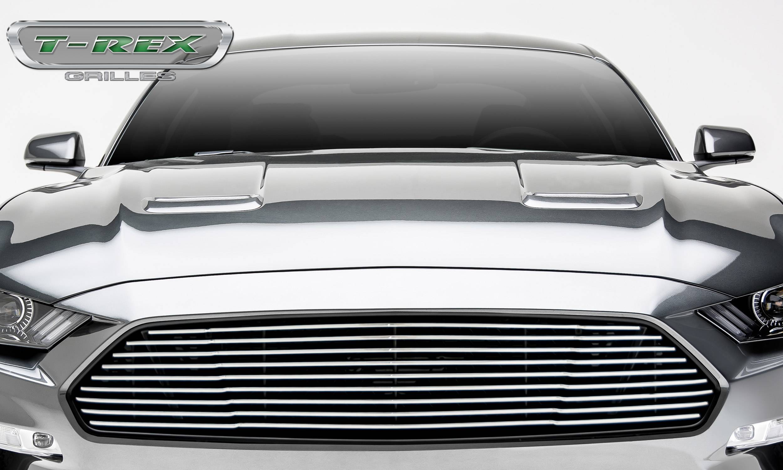 Ford Mustang GT - Billet Grille - Main, Overlay with Black Powder Coated Finish and Polished Face - Pt # 6215500