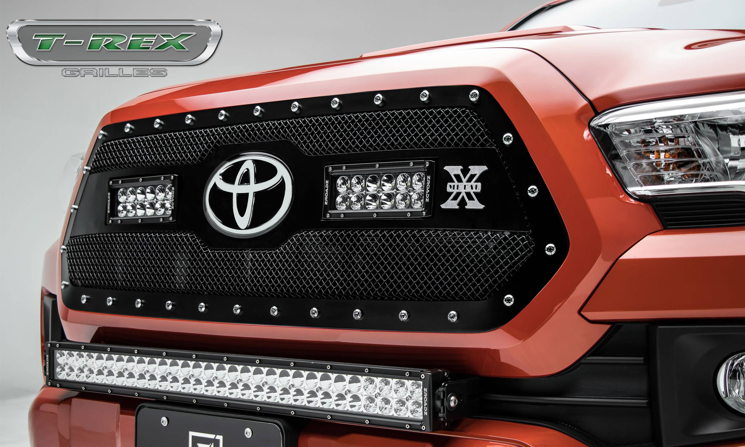 "T-REX Grilles - Toyota Tacoma TORCH Grille Insert w/ (2) 6"" LED Light Bars & Chrome Studs - Black - Pt # 6319511"