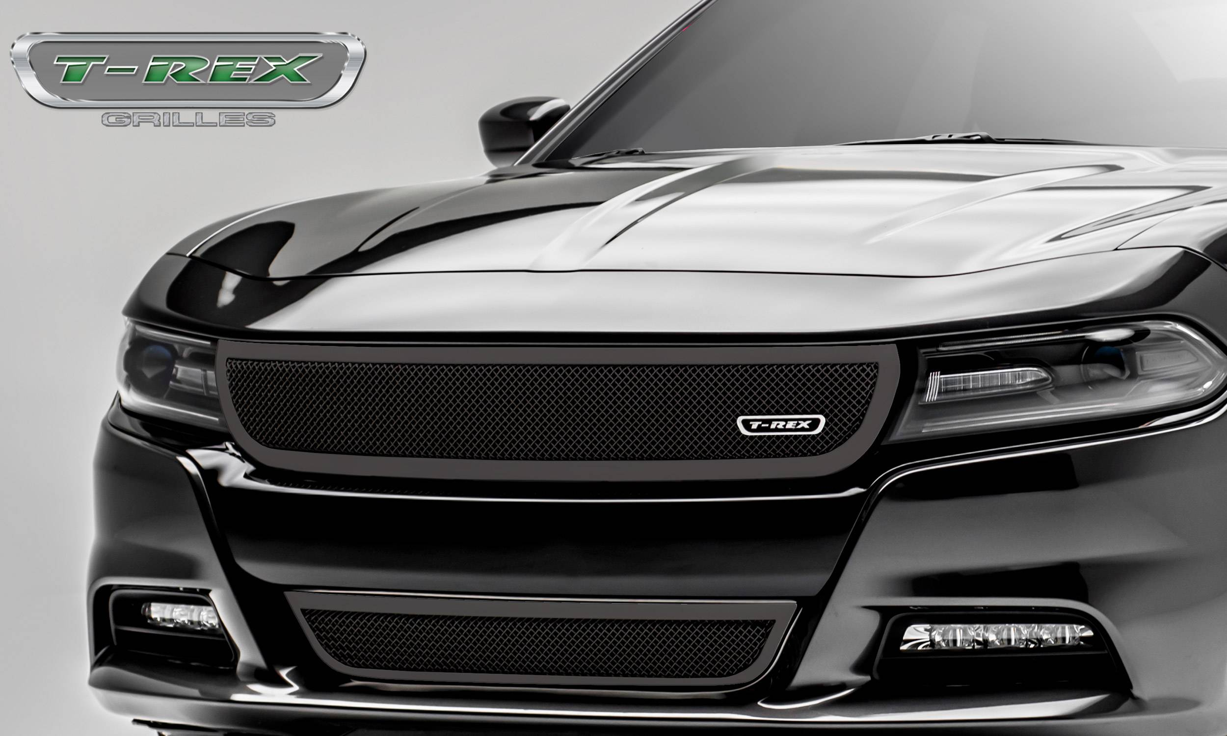 T-REX Grilles - Dodge Charger - Upper Class - 1 Pc Main Grille - Overlay/Insert - Black Powder Coated - Pt # 51480