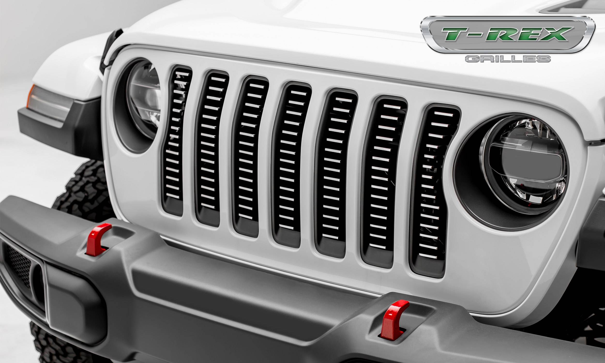 T-REX Grilles - Jeep Wrangler JL - Billet Series -  3/16' Thick Laser Cut Aluminum - Insert Bolts-On Behind Factory Grille -  Brushed Finish Face - Pt # 6204933