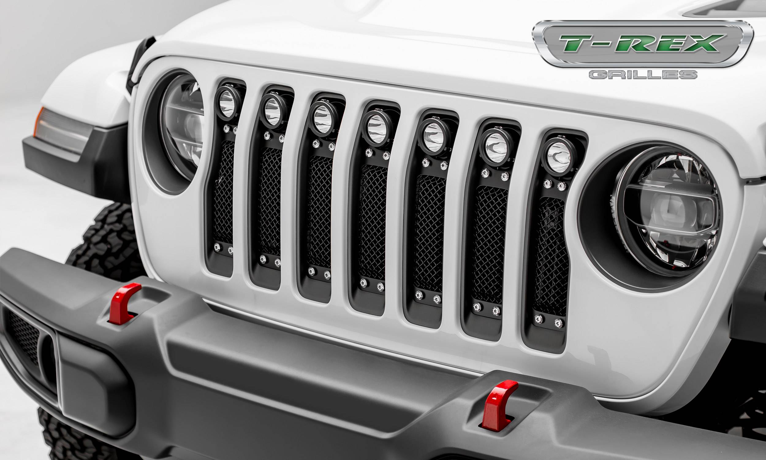 "T-REX Grilles - Jeep Wrangler JL - Torch Series w/ (7) 2"" Round LED Lights -  1 Piece Frame & Formed Wire Mesh - Insert Bolts-On Behind Factory Grille - Pt # 6314931"