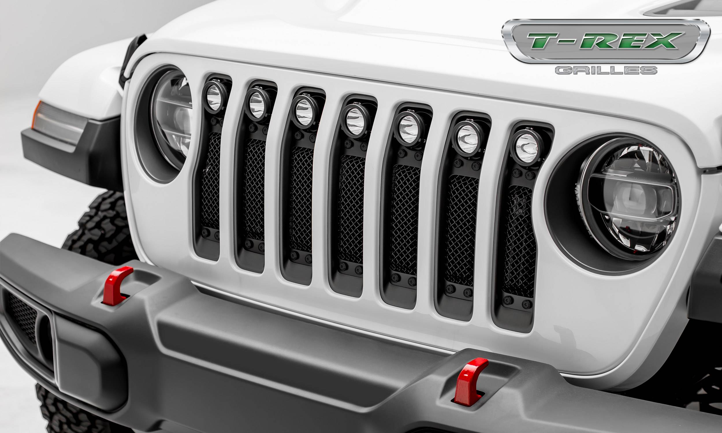"T-REX Grilles - 2018-2019 Jeep JL, JLU Stealth Torch Grille, Black, 1 Pc, Insert, Black Studs, Incl. (7) 2"" LED Round Lights - PN #6314931-BR"