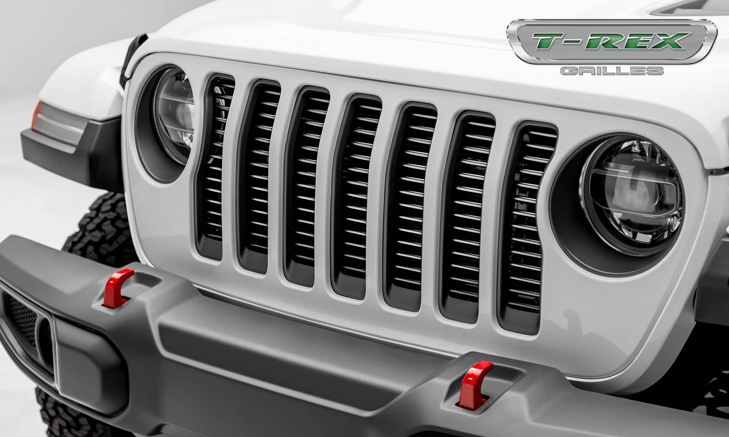 "T-REX Grilles - Jeep Wrangler JL - Billet Series -  3/8"" Thick Round Billet Stock - Insert Bolts-On Behind Factory Grille -  Silver Powder Coat Finish - Pt # 6204946"