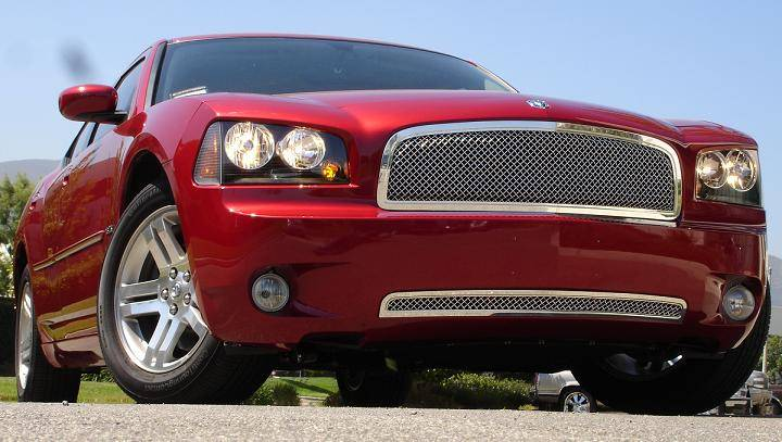 T-REX Grilles - Dodge Charger HYBRID Series Grille - w/Wire Mesh - Pol. - Pt # 70474