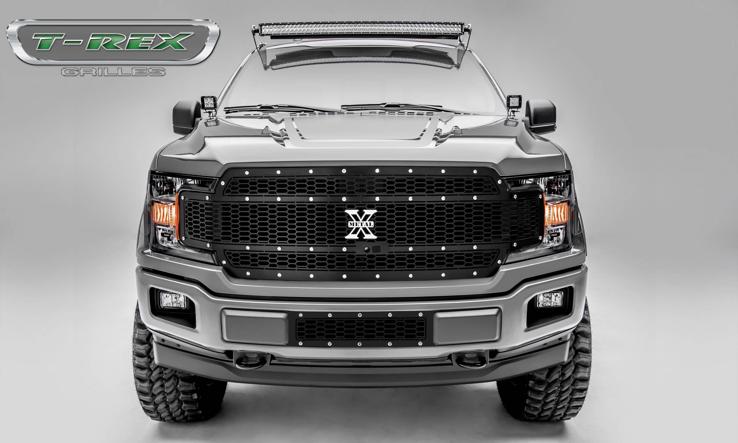 T-REX Grilles - T-REX Ford F-150 - Laser X-Metal Series - Main Grille Replacement - Fits Vehicles w/ FFC - Laser Cut Steel Pattern - Chrome Studs with Black Powdercoat Finish - Pt # 7715891
