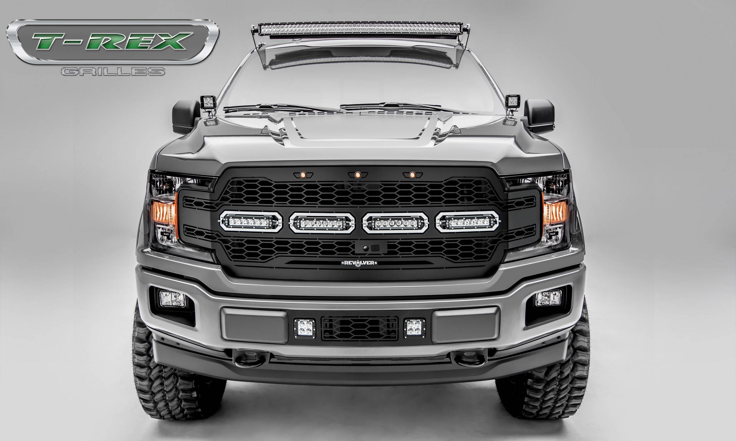 "T-REX Grilles - T-REX Ford F-150 - Revolver Series - Main Grille Replacement w/ (4) 6"" LED Light Bars - Fits Vehicles w/ FFC - Laser Cut Steel Pattern - Pt # 6515791"