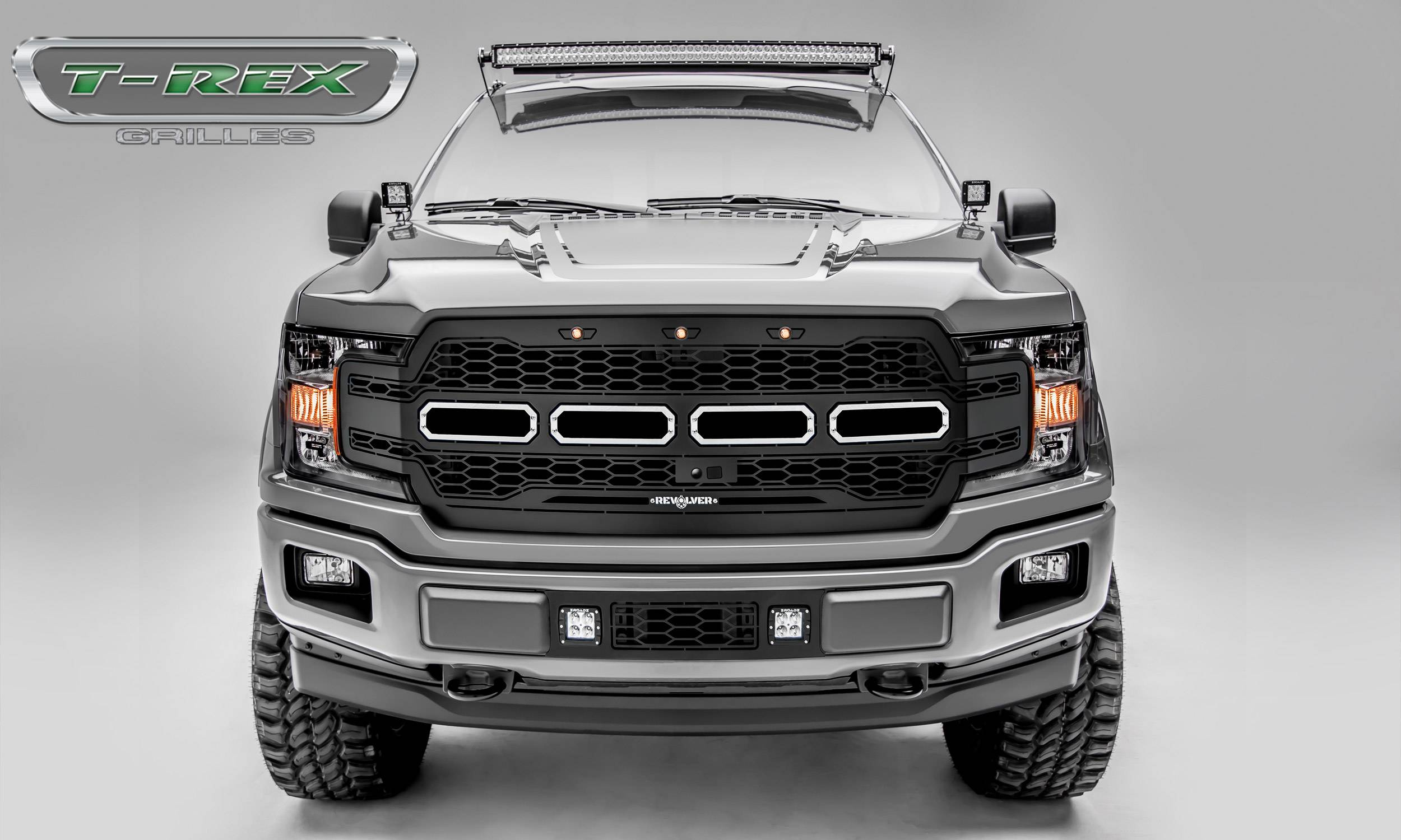 T-REX Grilles - 2018-2019 F-150 Revolver Grille, Black, 1 Pc, Replacement, Chrome Studs, Fits Vehicles with Camera - PN #6515781