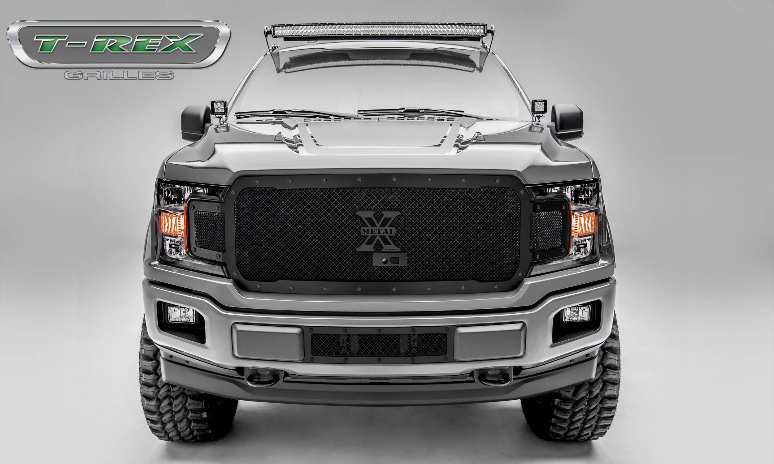 T-REX Grilles - Ford F-150 - X-Metal STEALTH Series - Main Grille Replacement - Fits Vehicles w/ FFC - Black Studs with Black Powdercoat Finish - Pt # 6715791-BR