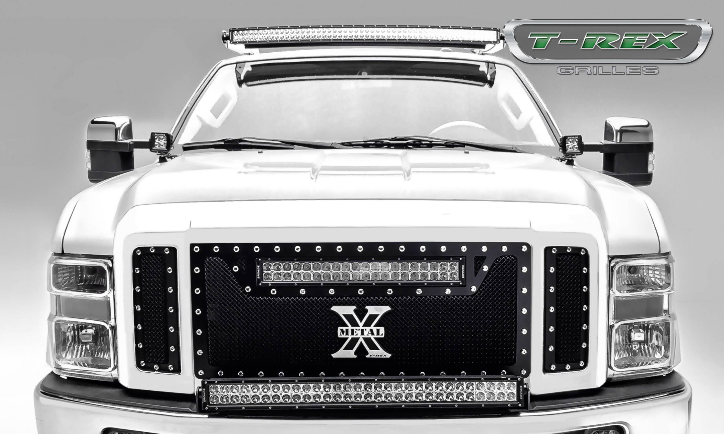 "T-REX Grilles - 2008-2010 Super Duty Torch Grille, Black, 3 Pc, Replacement, Chrome Studs, Incl. (1) 20"" LED - PN #6315451"