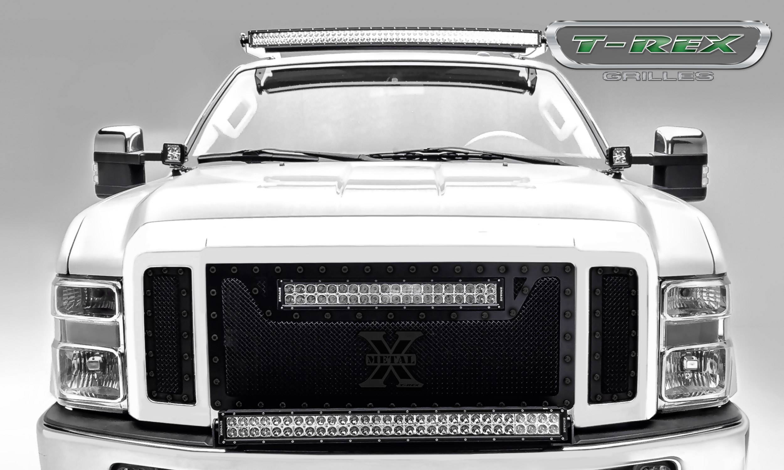 T-REX Grilles - Ford Super Duty TORCH Series - 3 Pc Main Grille w/ 20 Inch LED Light Bar - ALL Black w/ Black Studs - Pt # 6315451-BR
