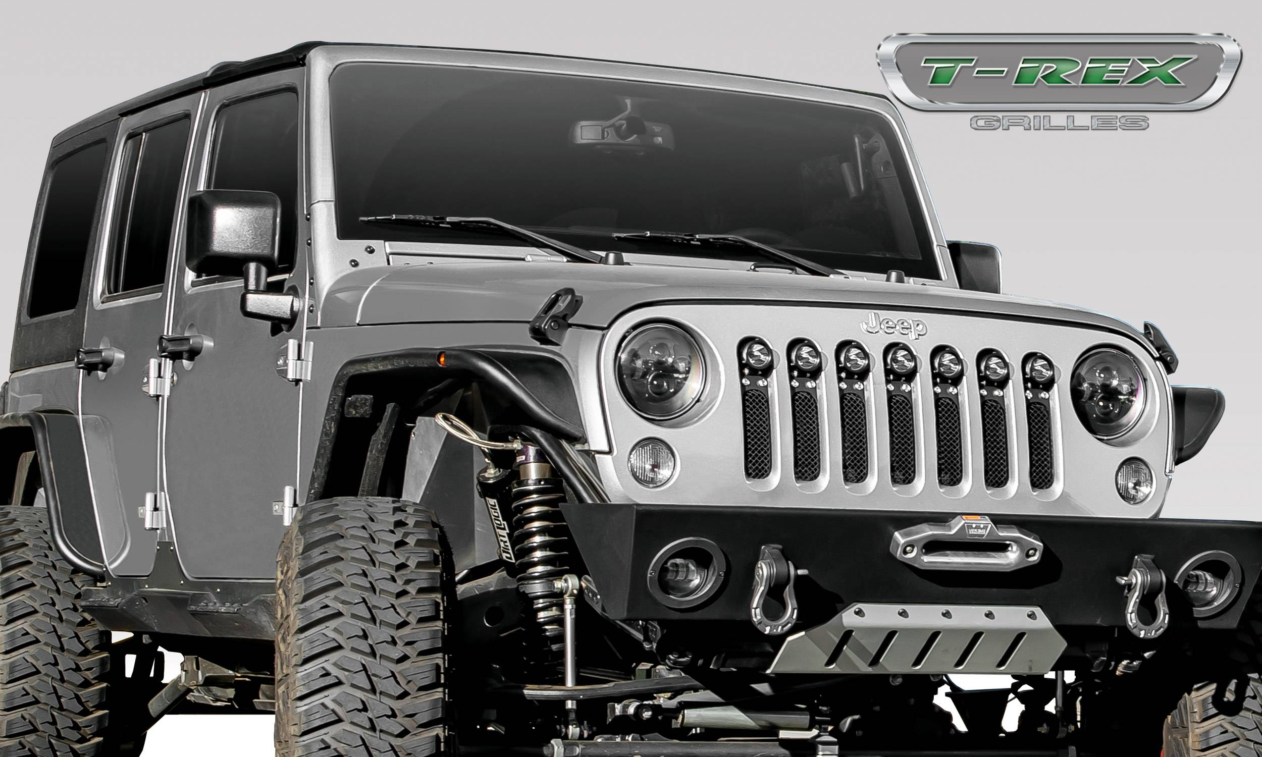 """T-REX Grilles - Jeep Wrangler JK - Torch Series w/ (7) 2"""" Round LED Lights - 1 Piece Frame & Formed Wire Mesh - Insert  - Pt # 6314841"""