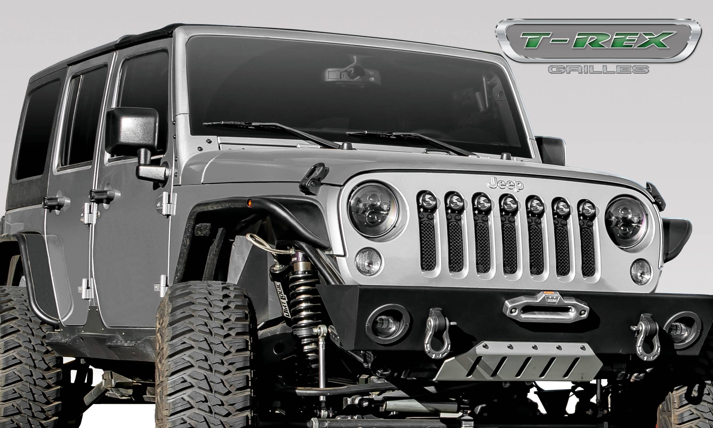 "T-REX Grilles - Jeep Wrangler JK - STEALTH Torch Series w/ (7) 2"" Round LED Lights - 1 Piece Frame & Formed Wire Mesh - Insert - Pt # 6314841-BR"